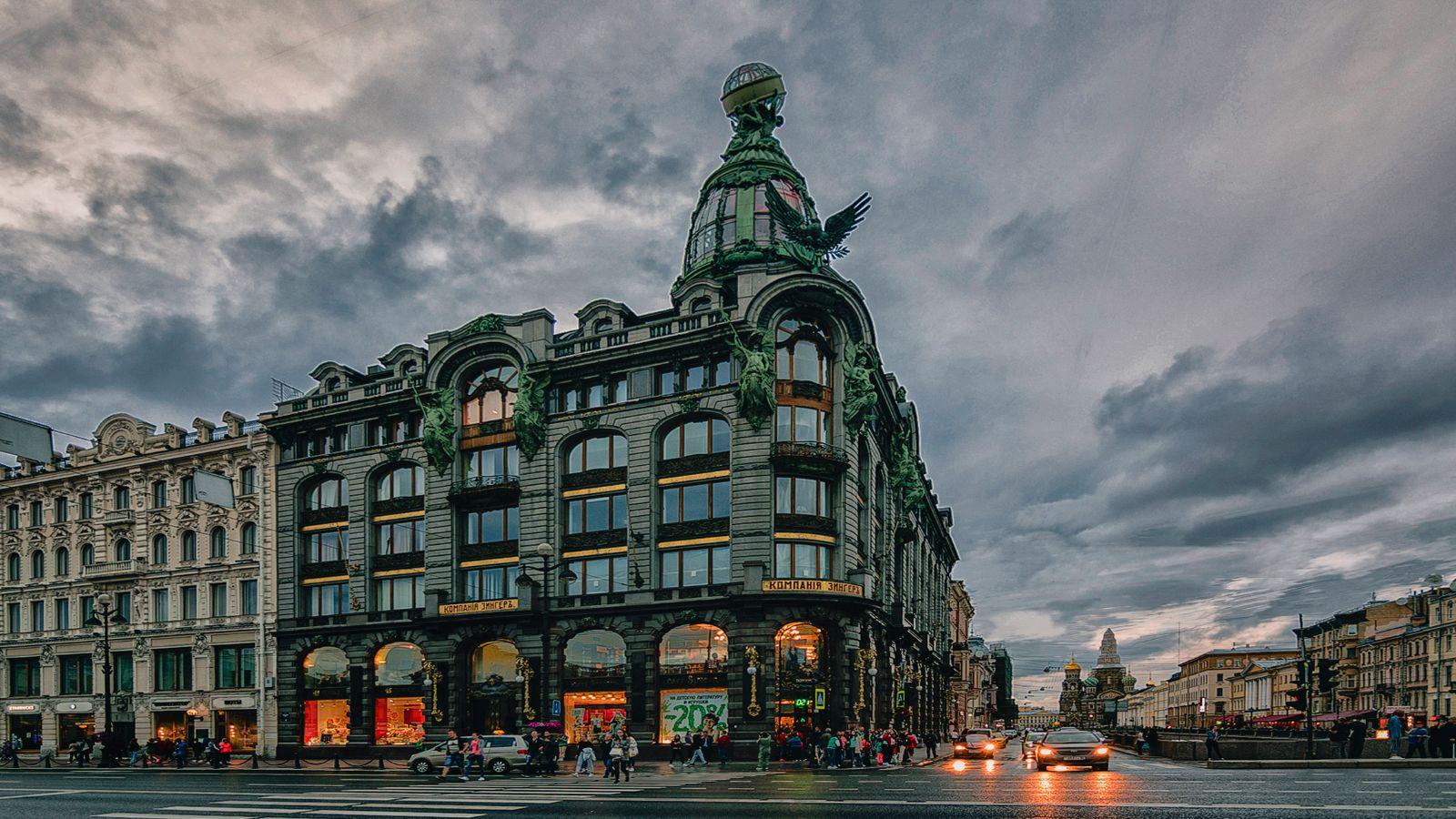 Вечерний Санкт Петербург. Дом Зингера Архитектура закат Невский