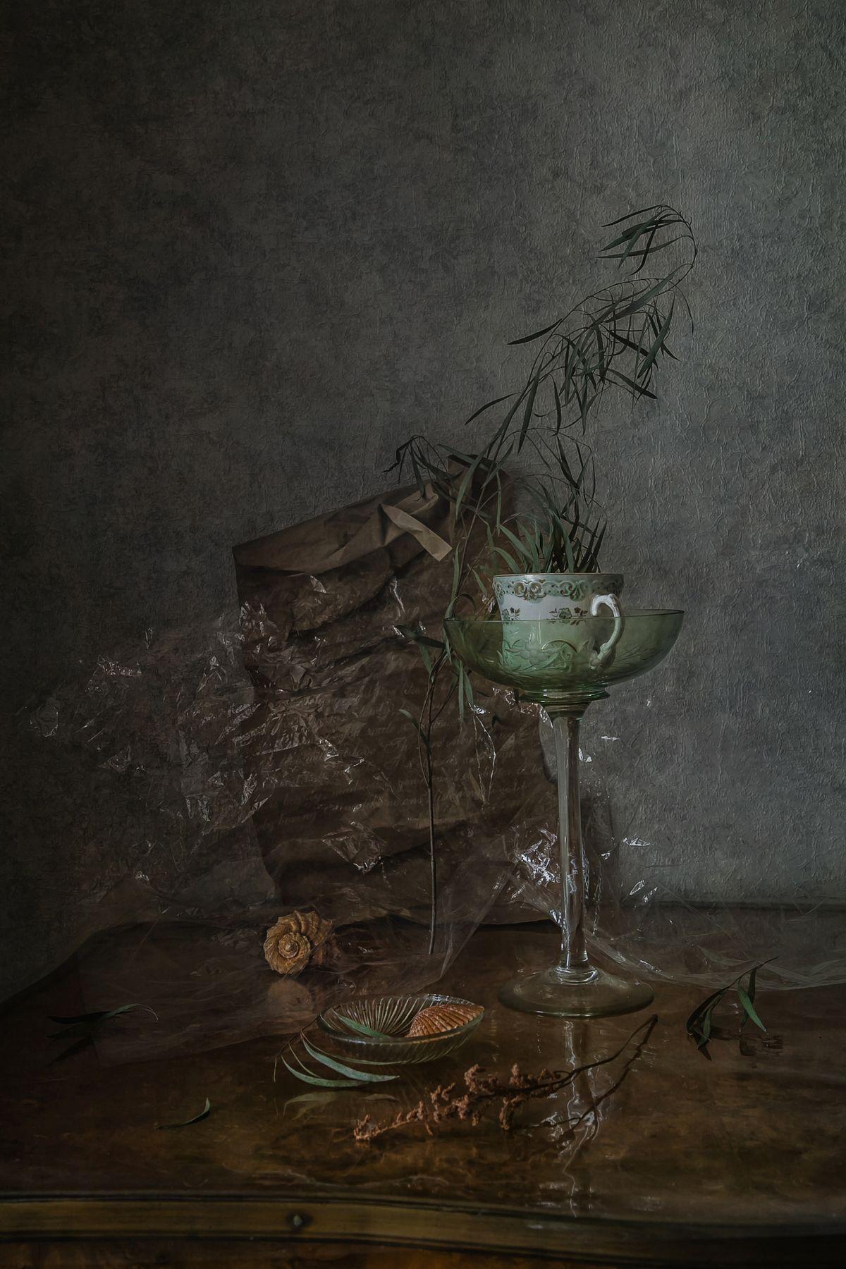 Мятый хрусталь натюрморт стекло фарфор ракушки