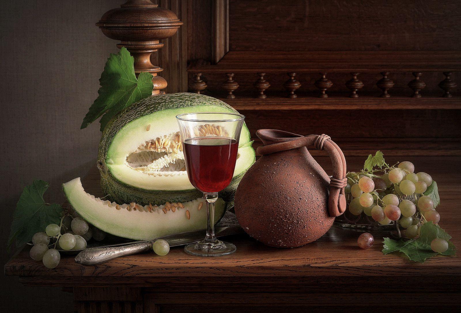 Натюрморт с малиновым вином Сергей Алексеев натюрморт