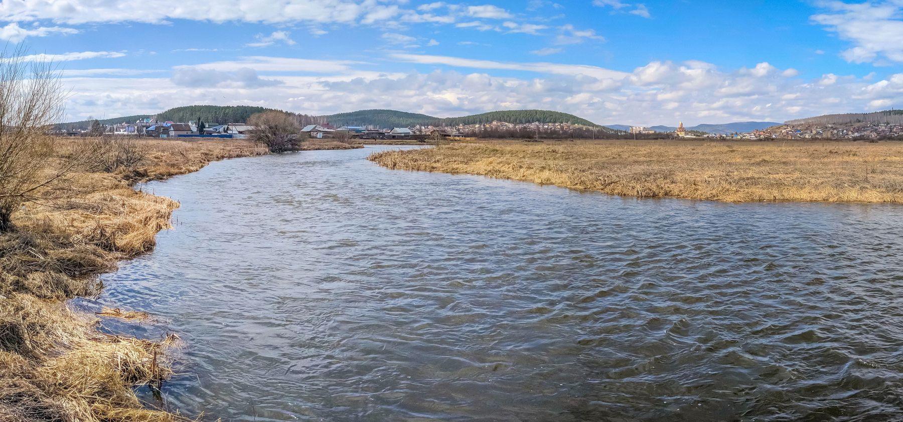 Половодье на реке Миасс. (панорама) Южный Урал Миасс река природа весна