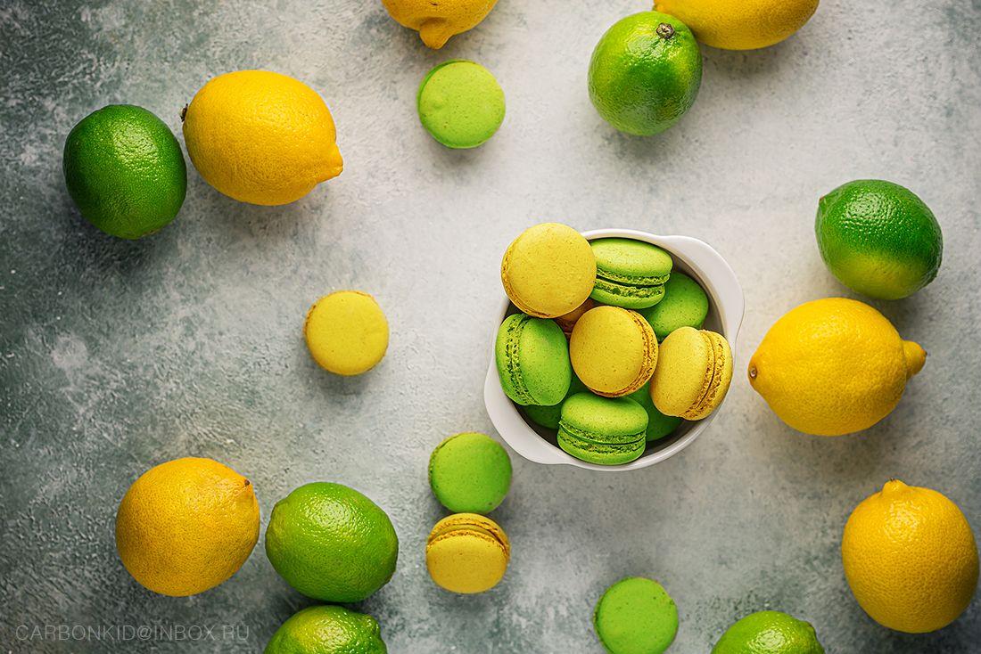 M A C A R O O N макарун лимон Лайм натюрморт флэтло