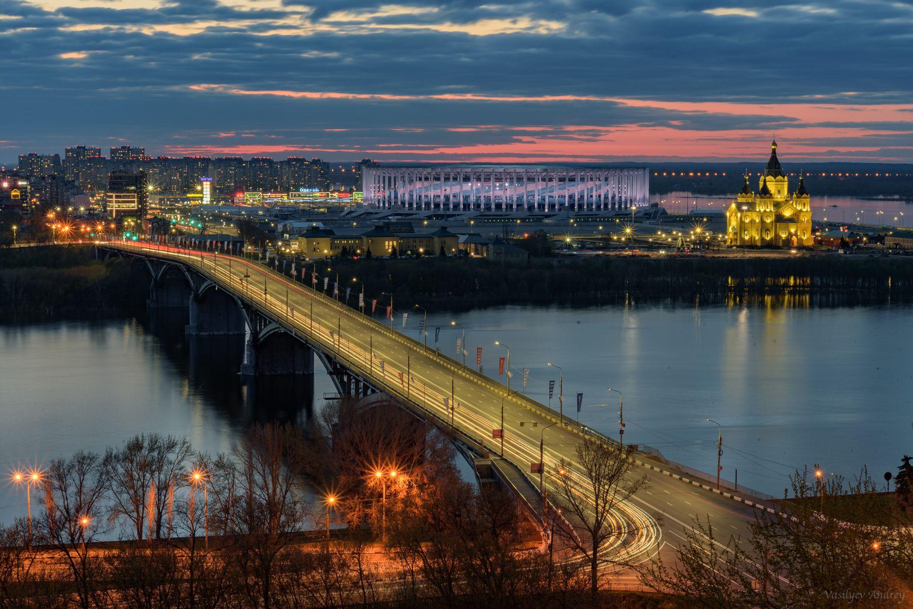 Канавинский мост вечер небо облака отражение