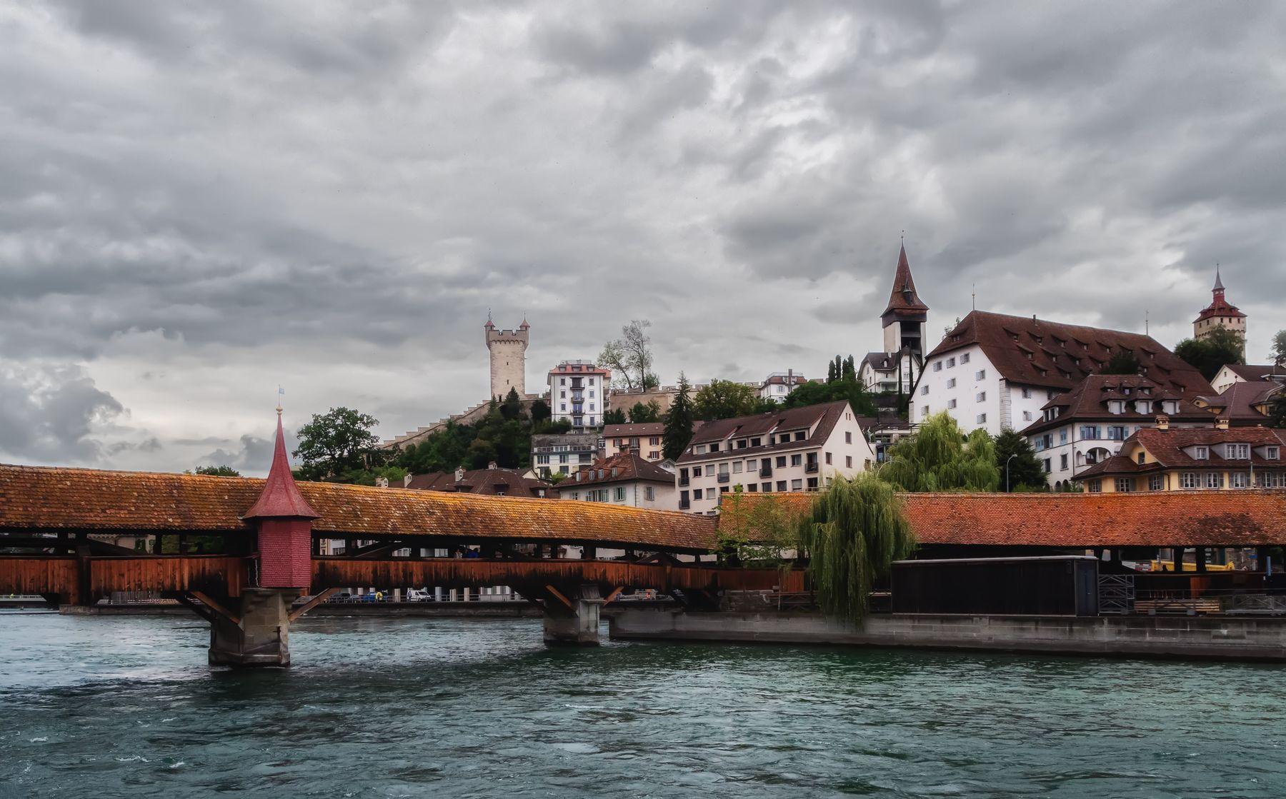 Средневековые башни Люцерна Люцерн мост средневековый