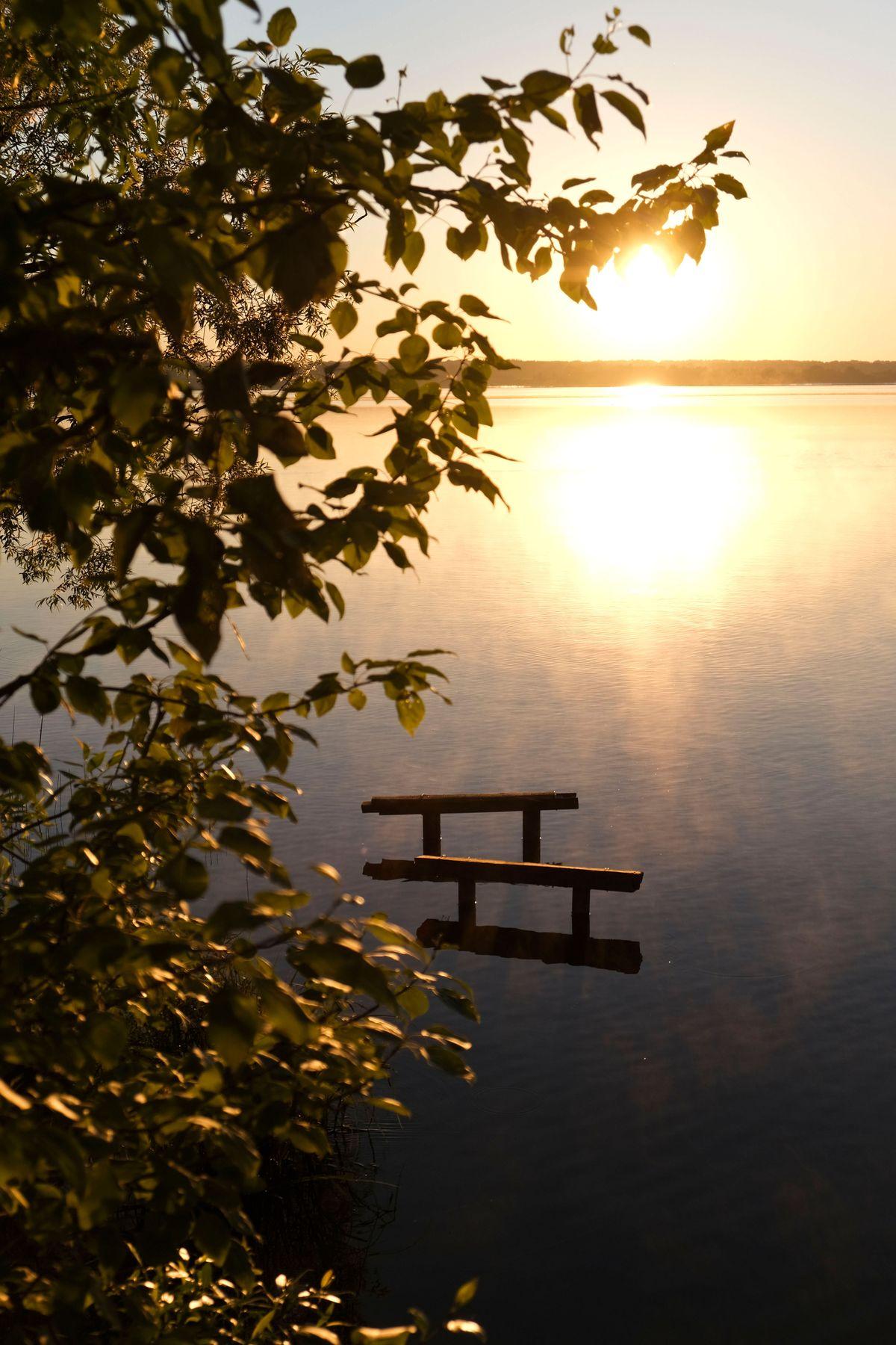 Красивое туманное утро на озере.  Затопленная лестница.