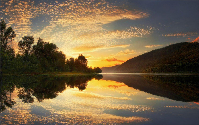 *** пейзаж сочный закат красивые места водная гладь отражение сибирь