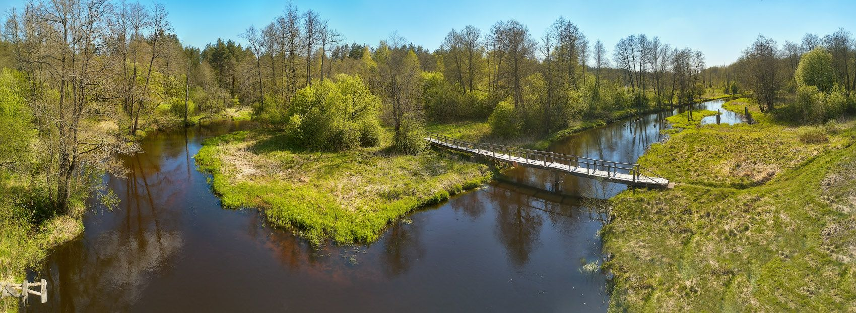 Весна на Узлянке Беларусь Весна Май Панорама Река Узлянка