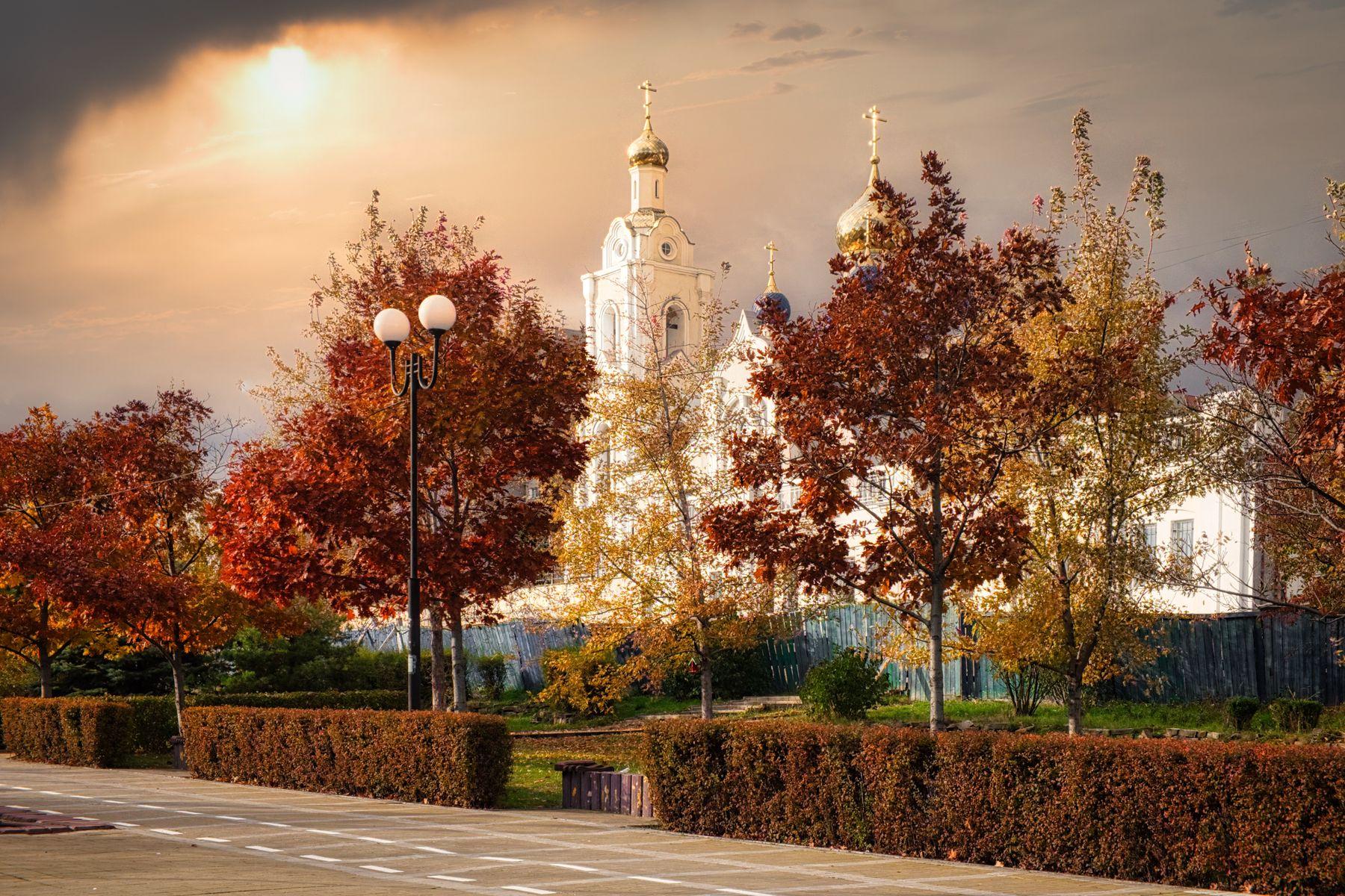 Золото осени Ростов-на-Дону храм осень деревья небо