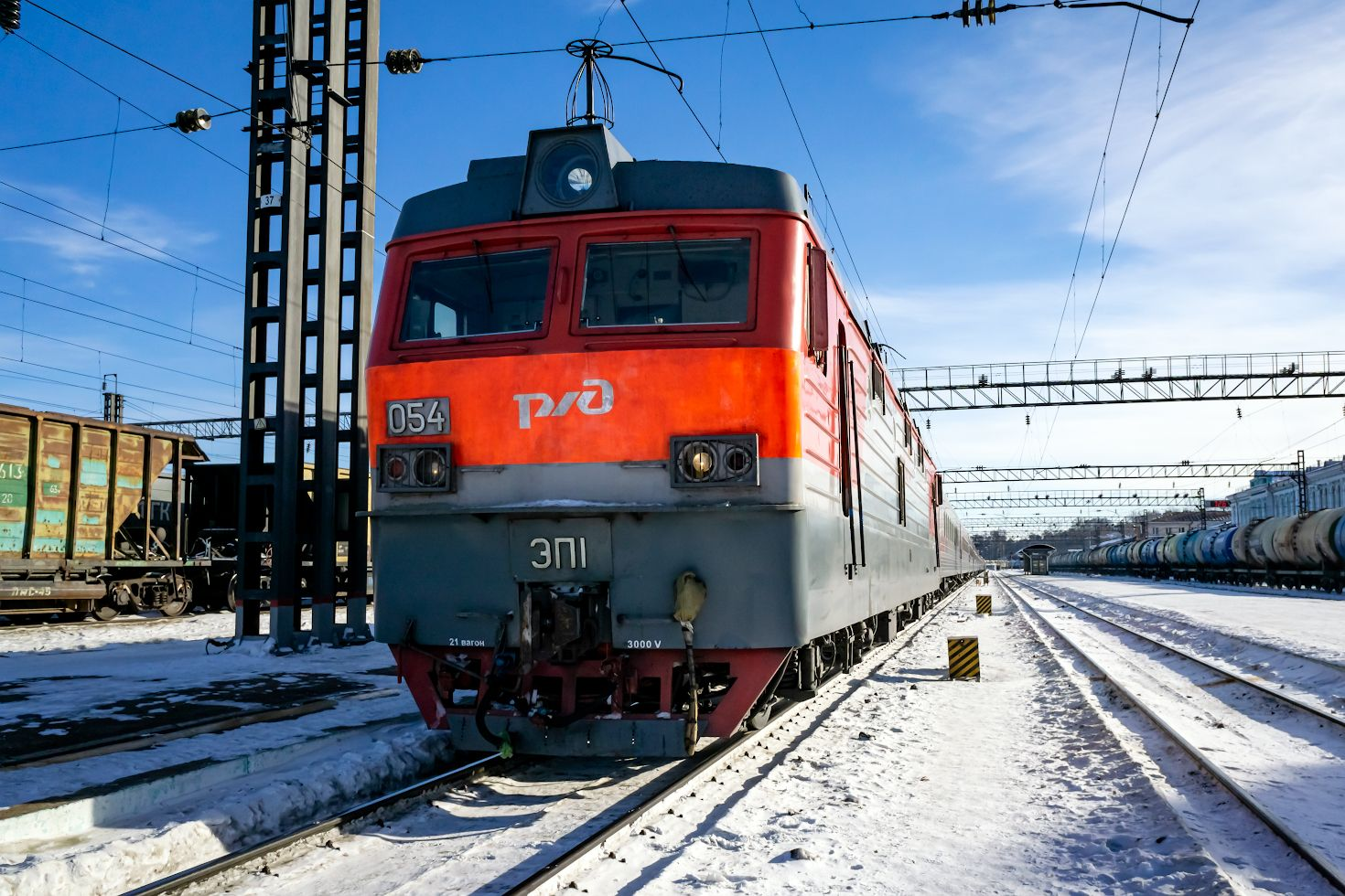 ЭП1-054 railway железная дорога locomotive локомотив электровоз поезд train Russia Siberia Irkutsk Россия Сибирь Иркутск споттинг spotting