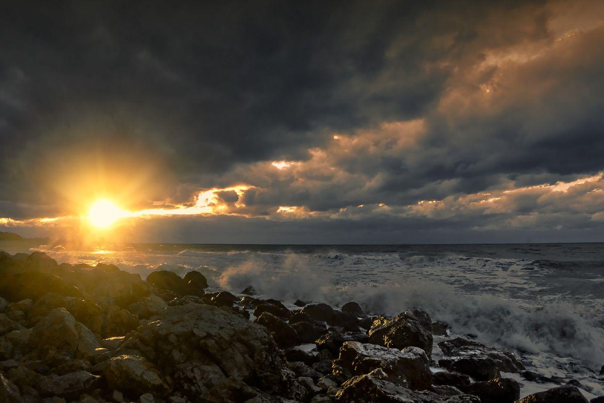 Во время заката море пейзаж вечер закат крым севастополь жанр