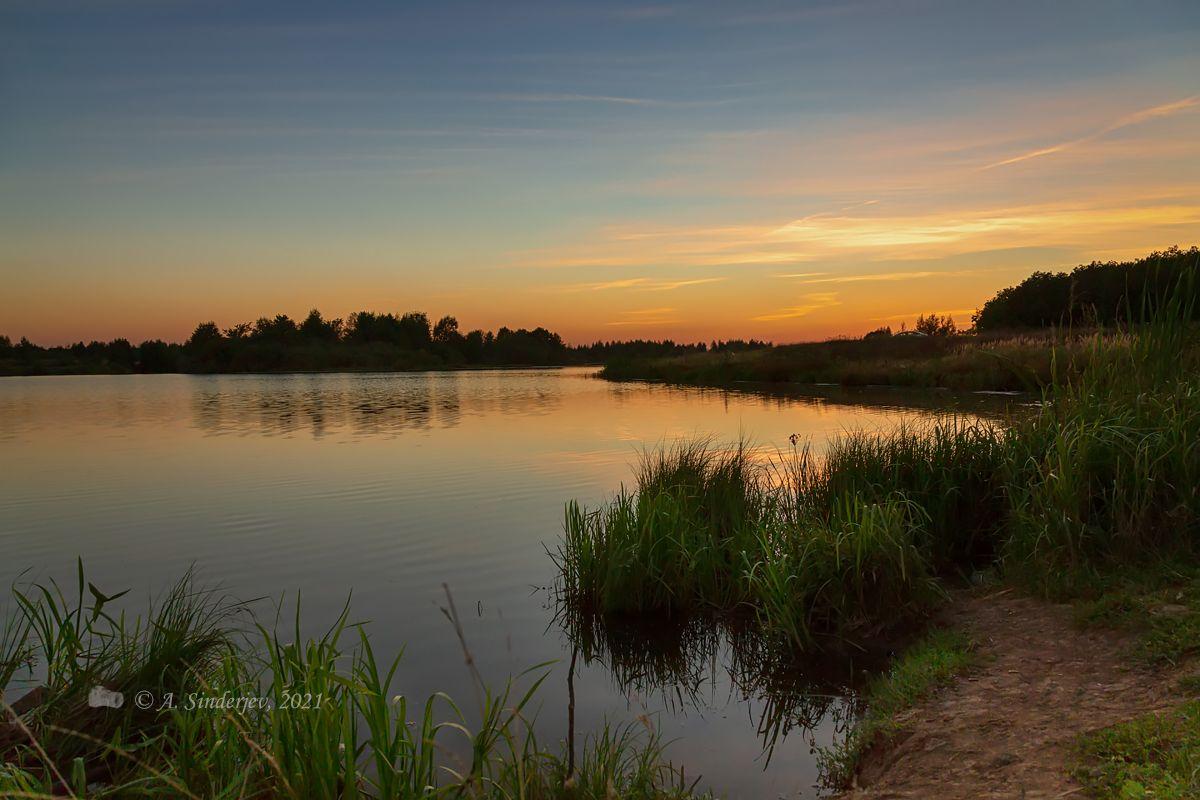 После заката озеро лето пейзаж закат