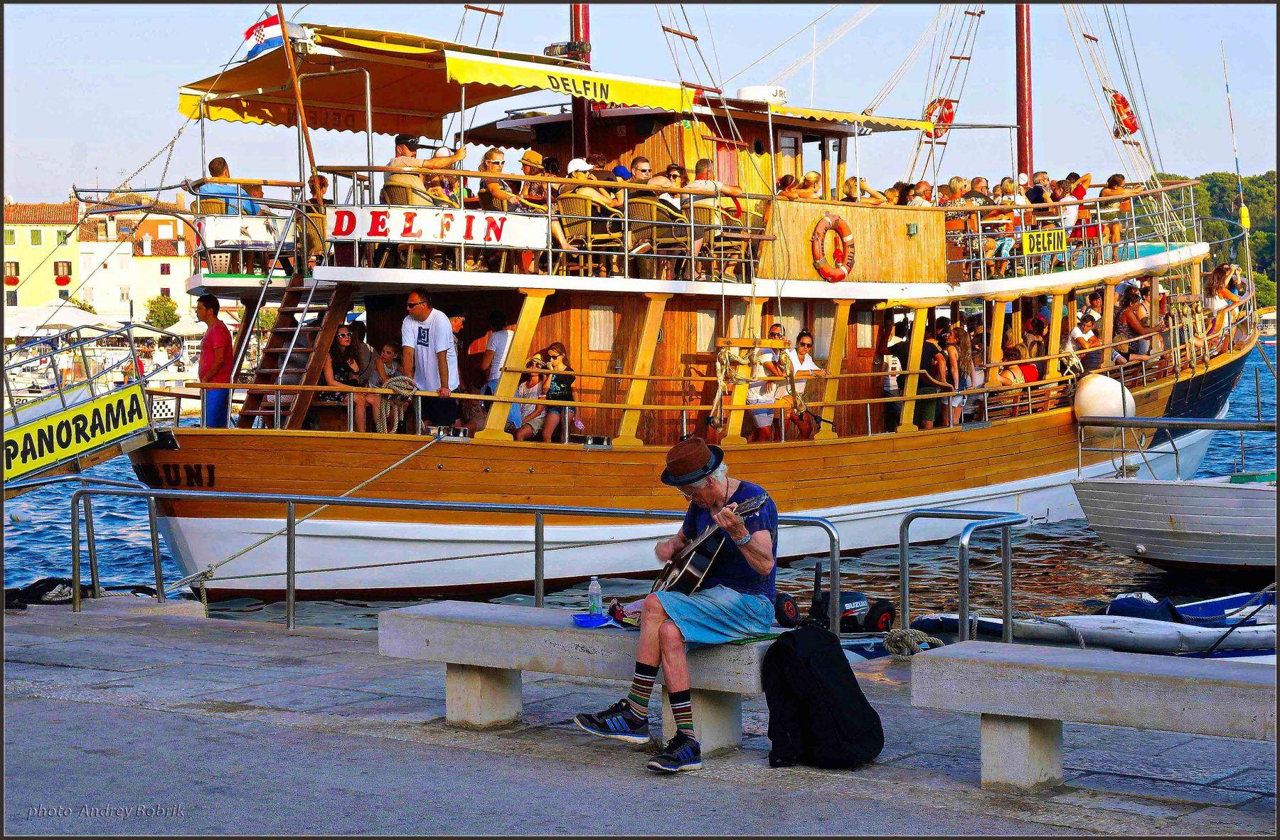 """Как провожают..."" Хорватия Ровинь море причал гавань гитарист люди шхуна"