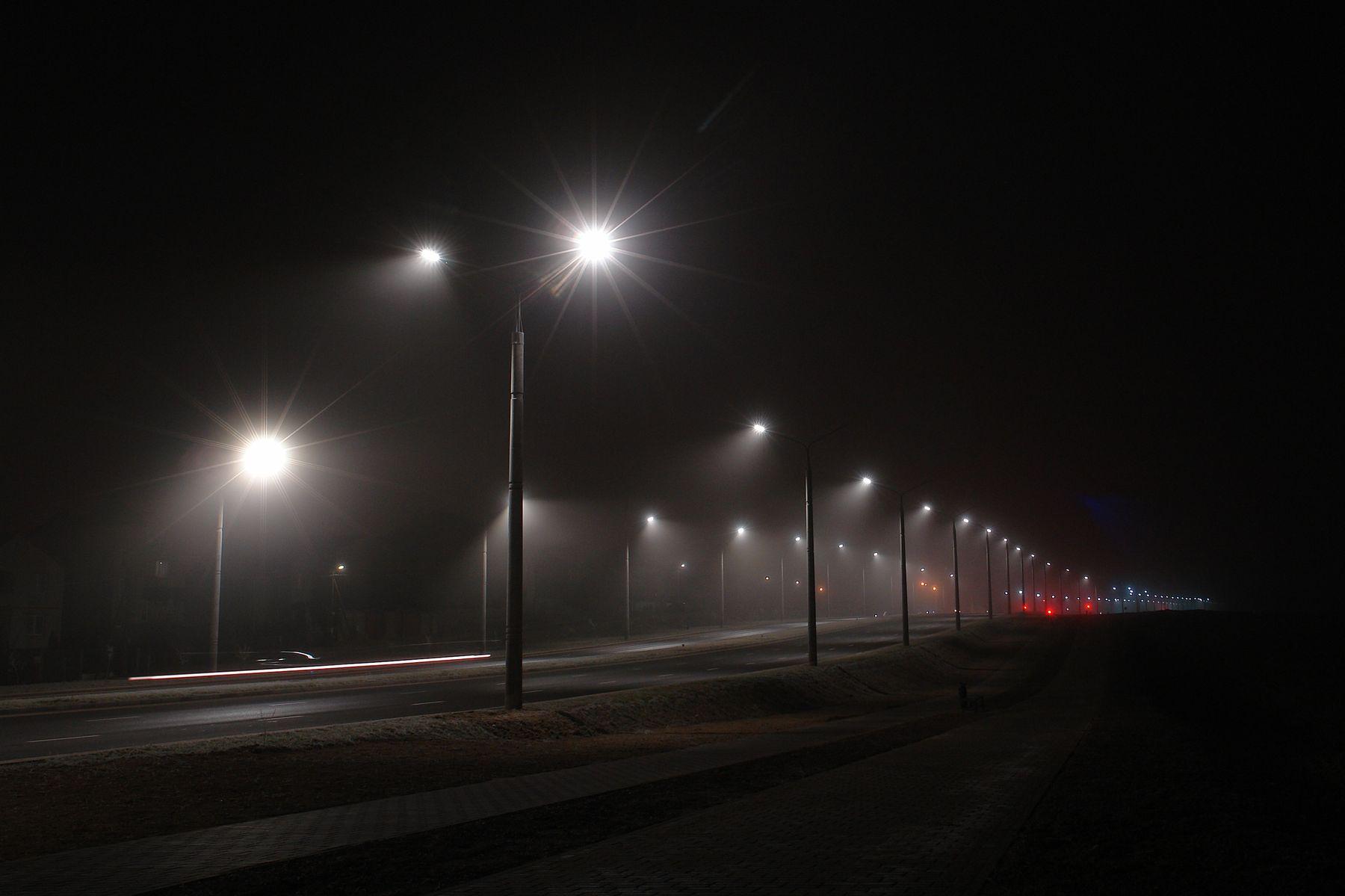 От фонаря фонари дорога вечер город