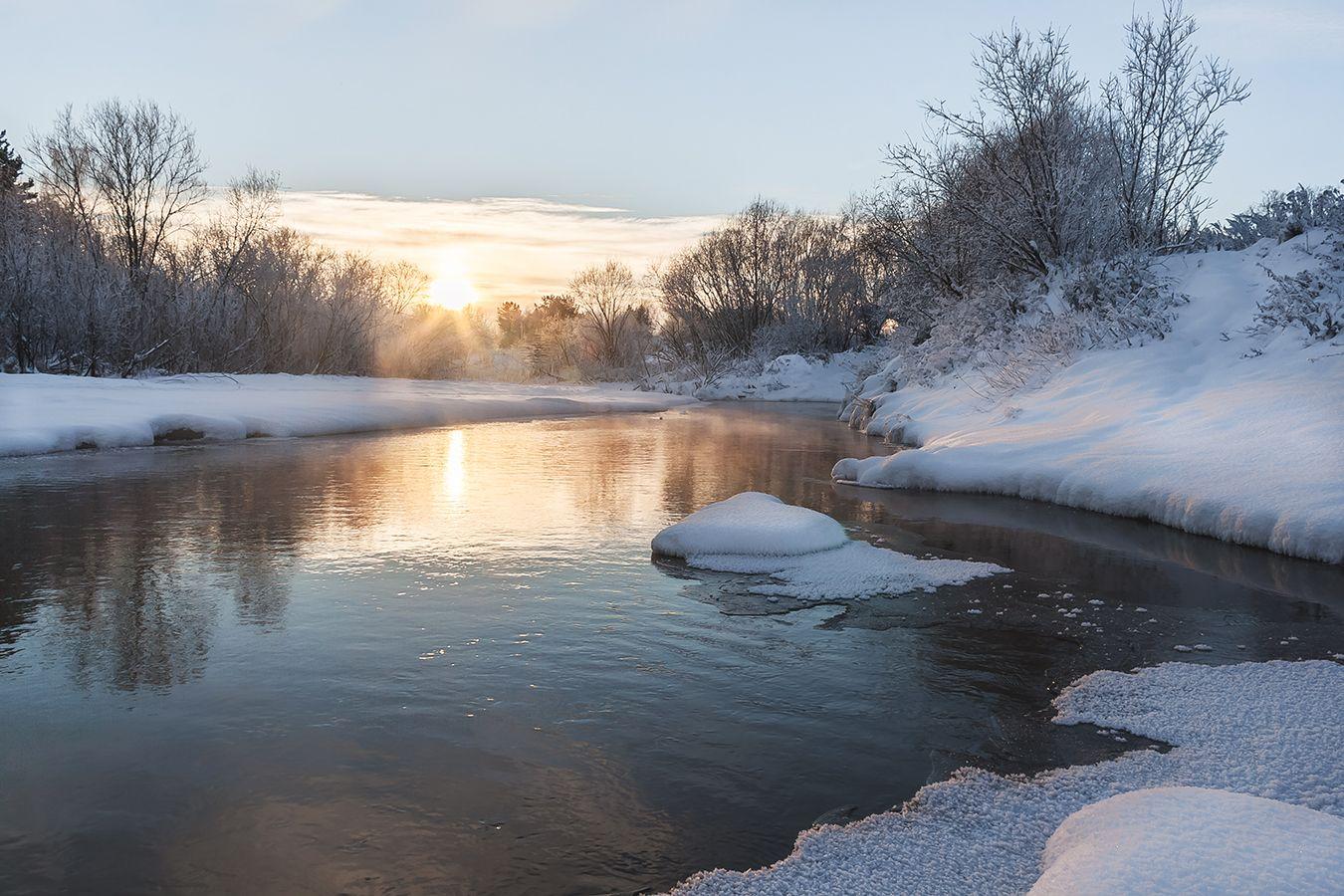 На речке зимой. речка зима солнце вода снег берега кустарник островок ива