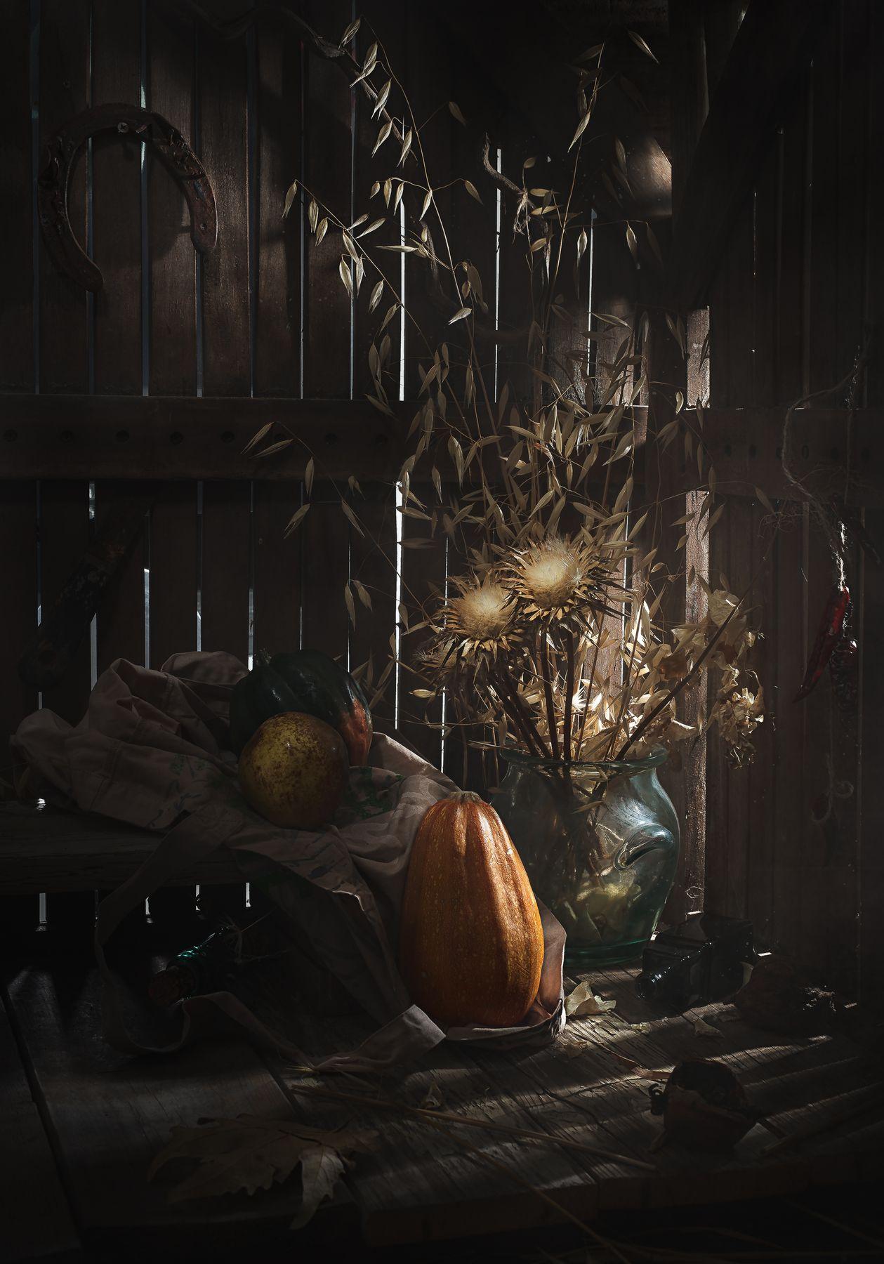 Тыква и другие -1. В старом сарае. Натюрморт деревенский тыква груша стекло сарай сухие цветы низкий ключ