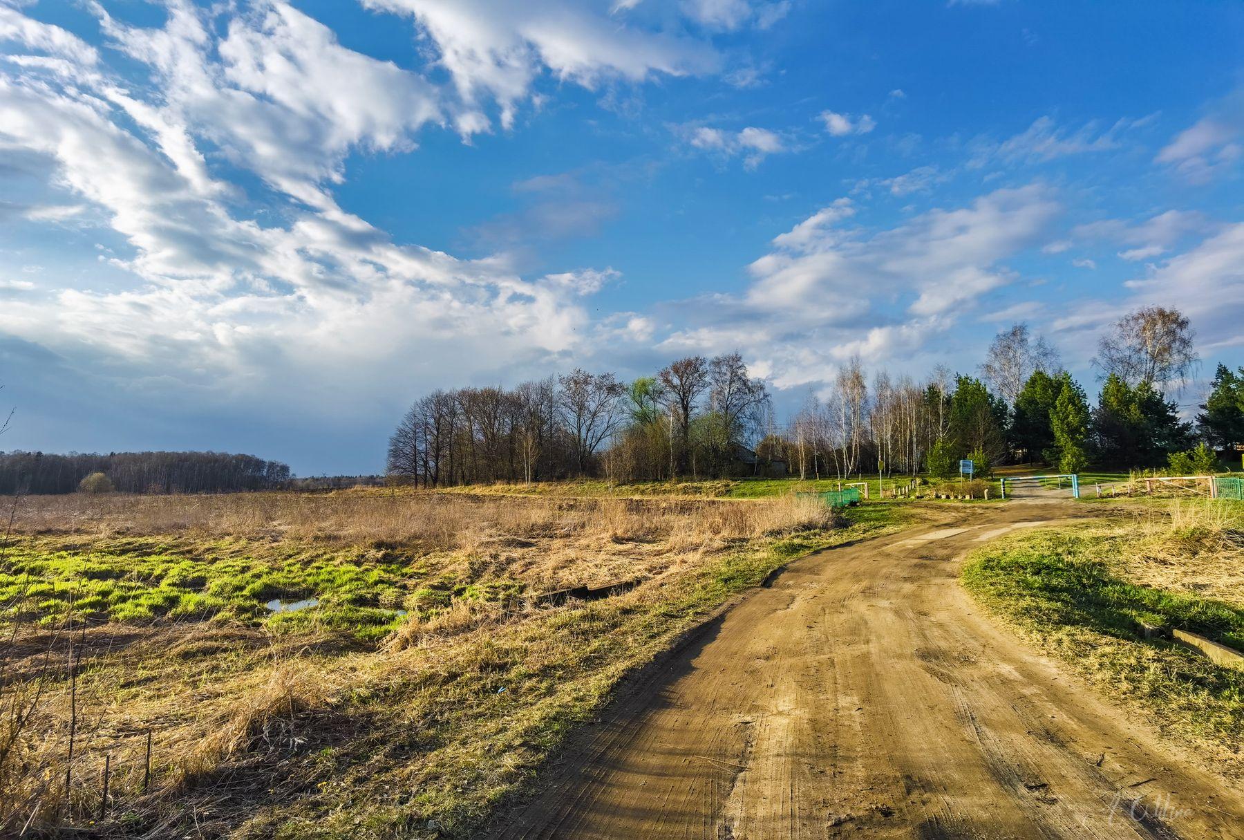 Апрельский вечер в деревне дорога деревня поле березы сосны