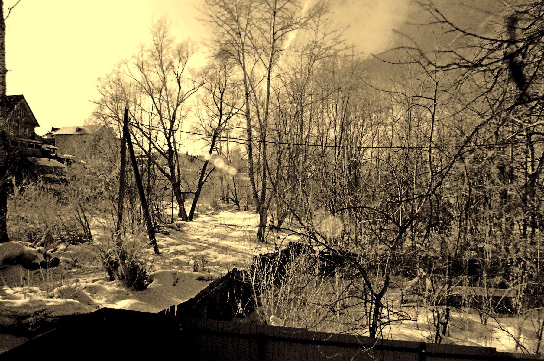 Зима.Задворки из окна. Непрошенные зайцы....Ярославль.Ярославская губерния.Р.Ф.2021г.г. от Р.Х. Инфракрасная,чёрно-белая,монохромная, фотография. (infrared imaging)