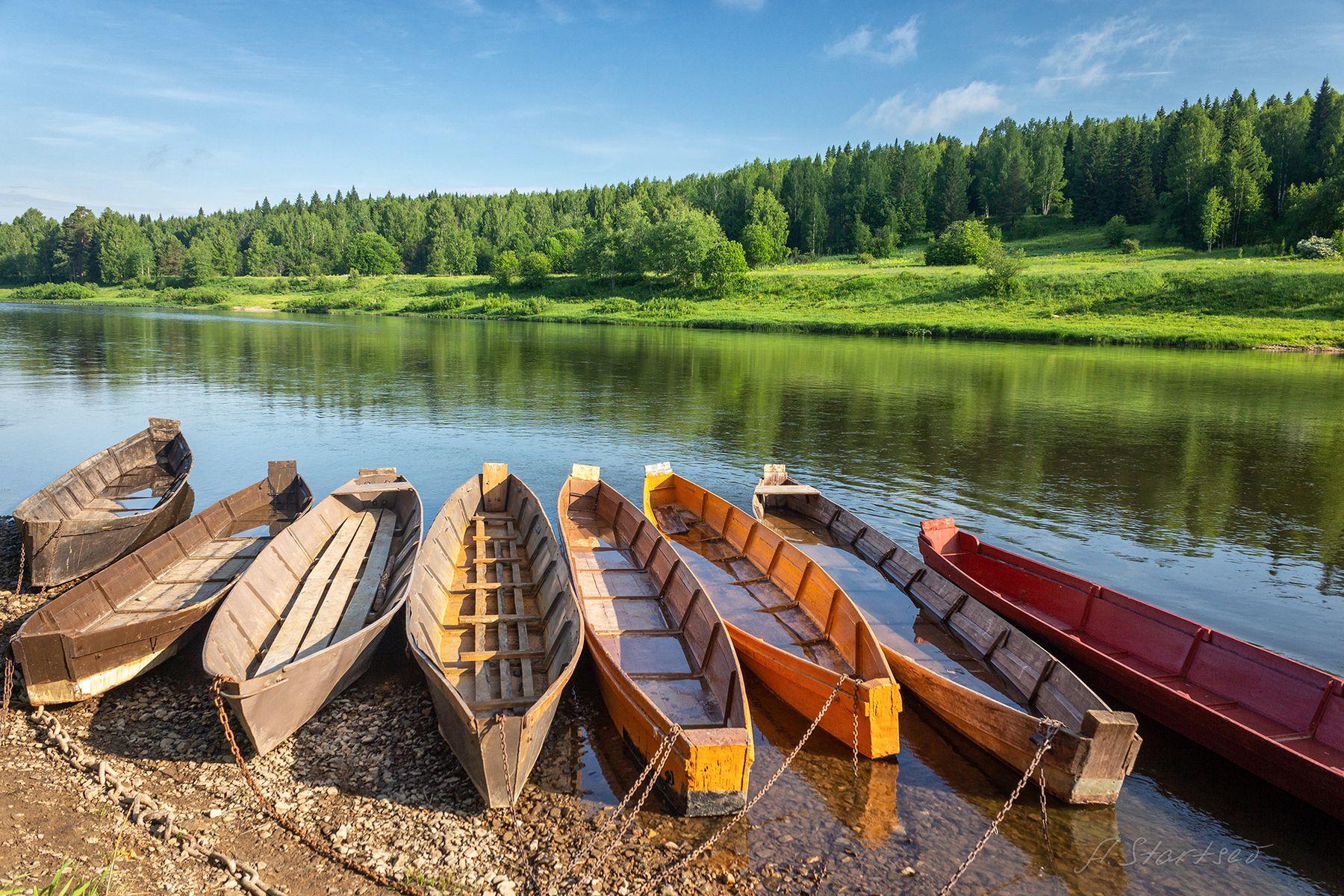 Лодки лето река Чусовая Урал Пермский_край лодки пейзаж небо вода лес