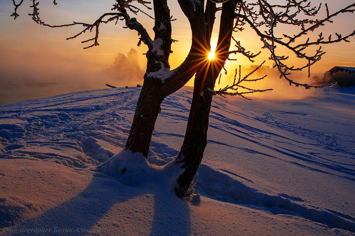 Привет от января... Ангара Иркутск утро январь мороз
