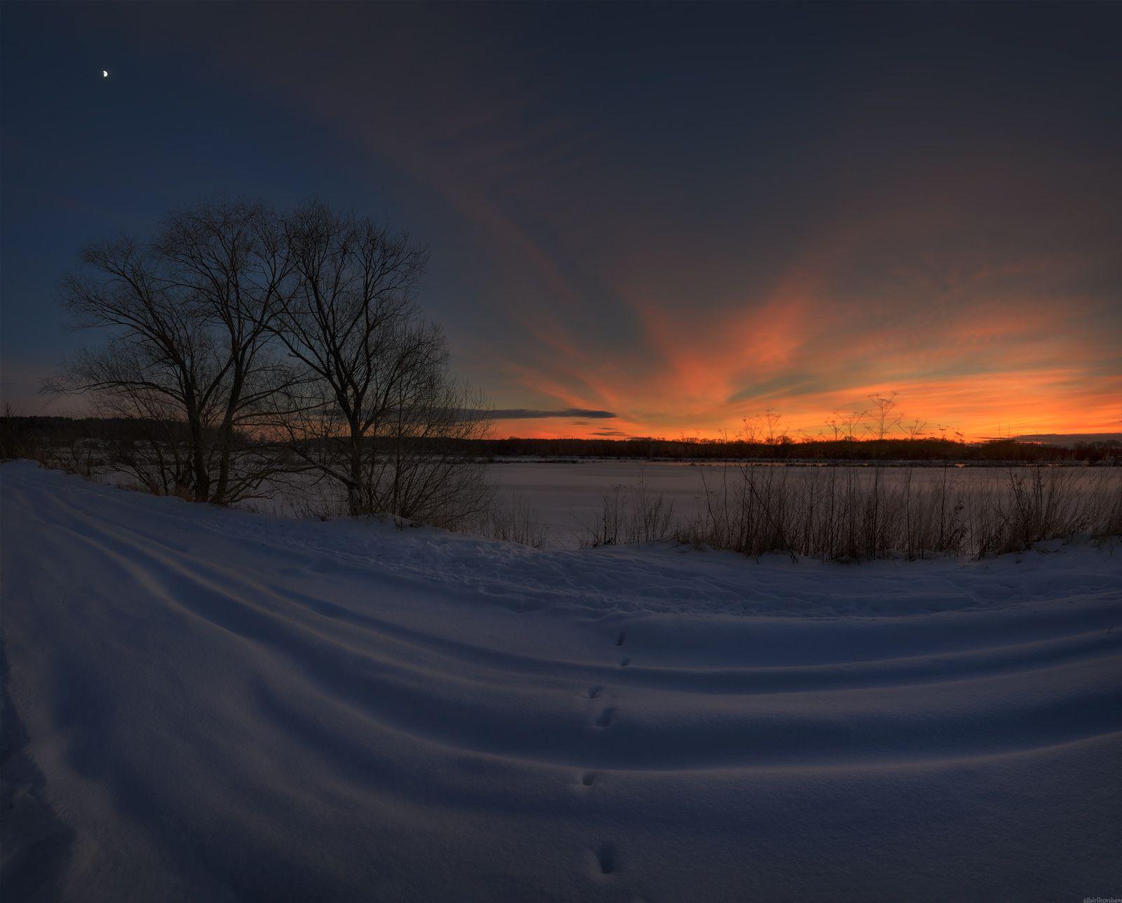 / В зимний вечер под Луной... / зима пейзаж луна вечер снег закат краски