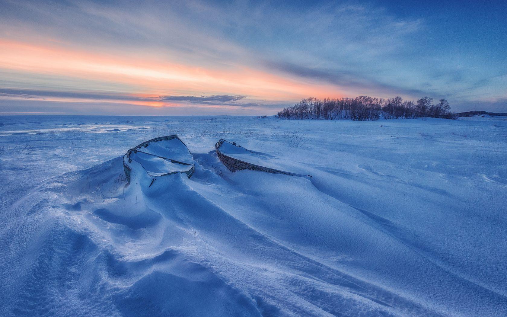 Белое Море Зима Белое море снег лед лодка