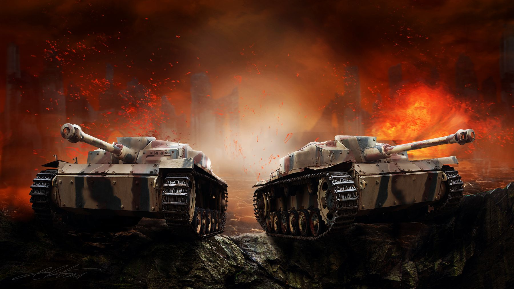Remelting II Digital Photo Art War Reconstructions Pacifismus Tanks Eltons Fantasies