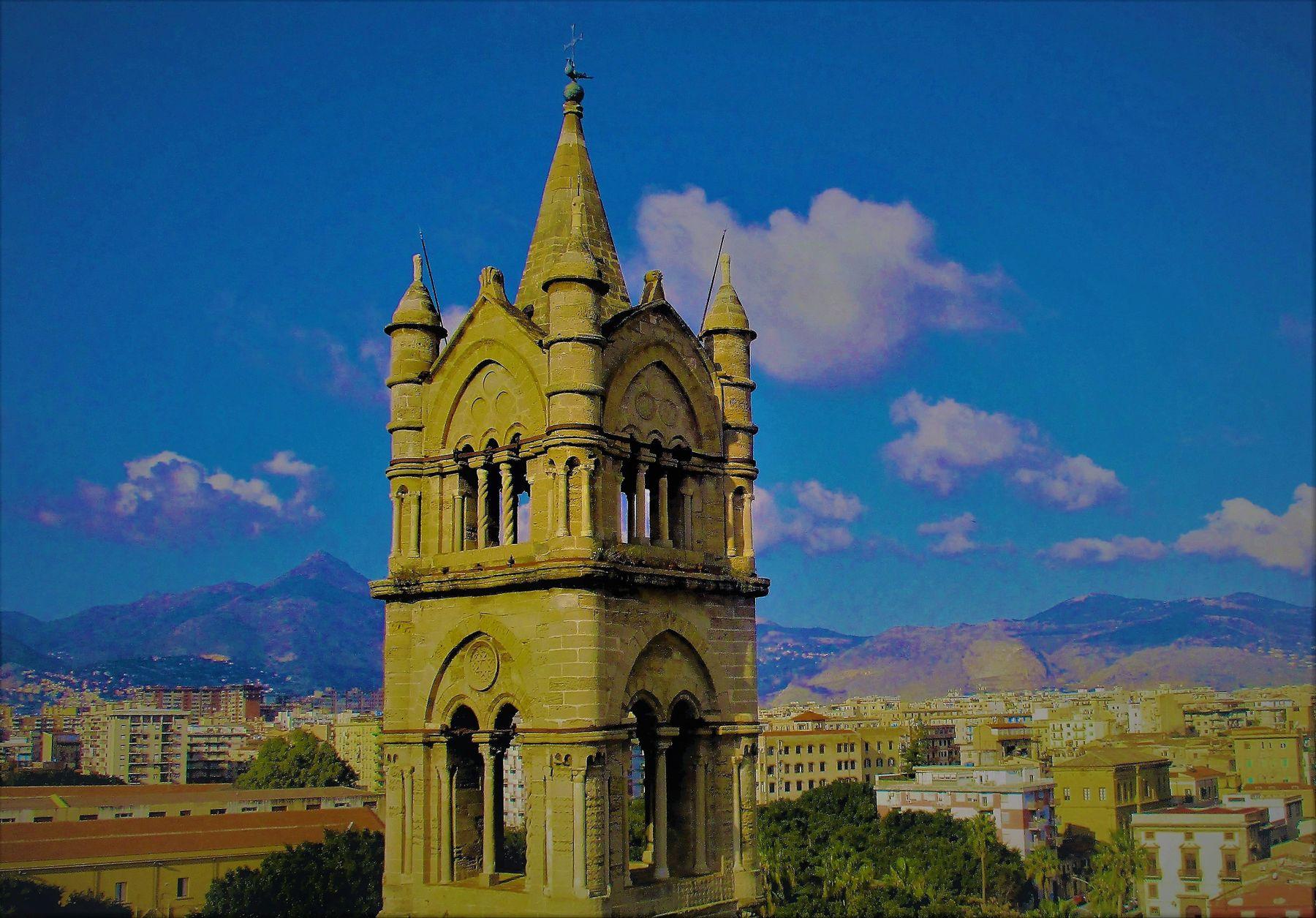 Взгляд на Палерму Путешествия Палермо башня Кафедрального Собора