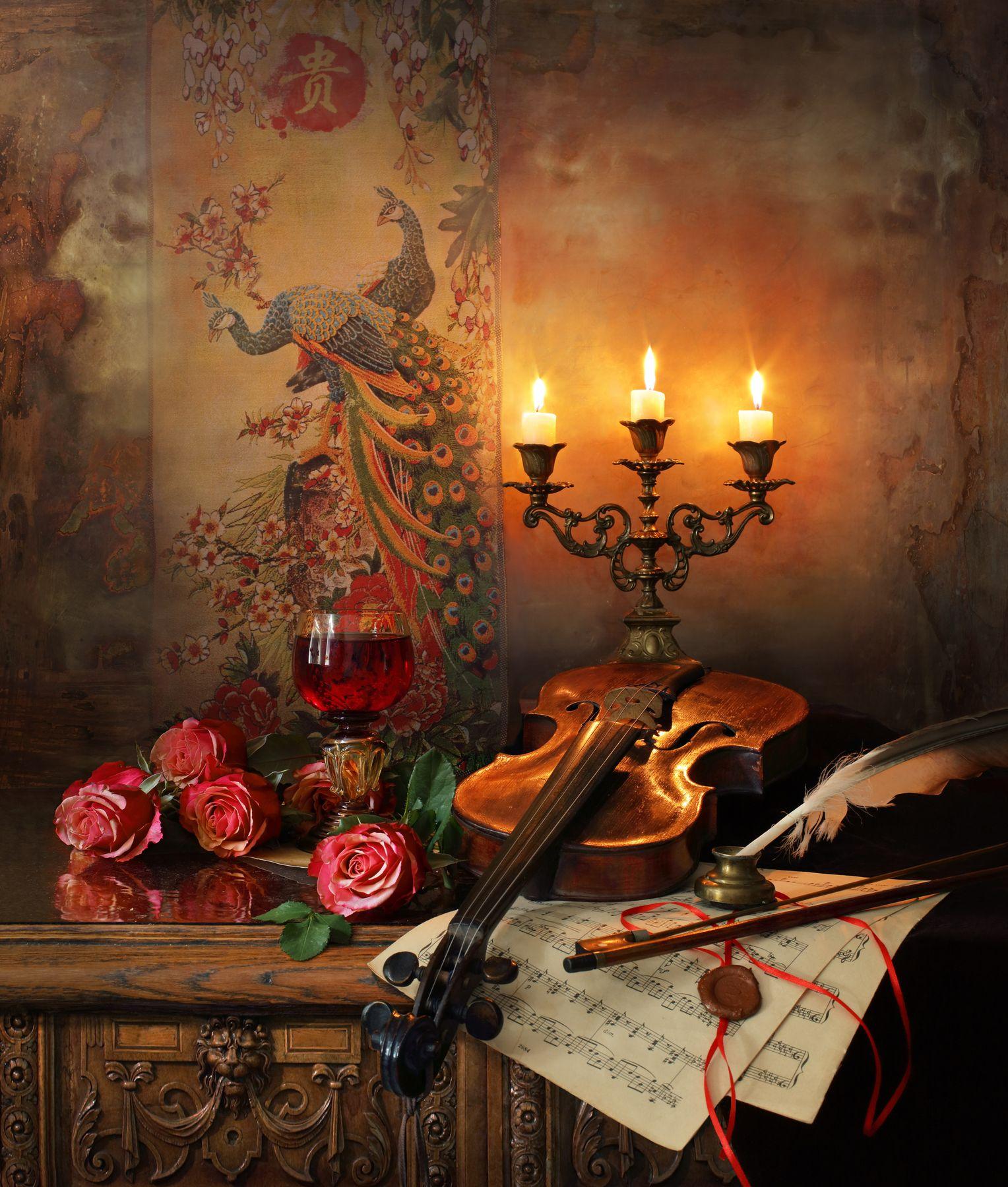 Натюрморт со скрипкой розами цветы розы картина музыка скрипка свечи