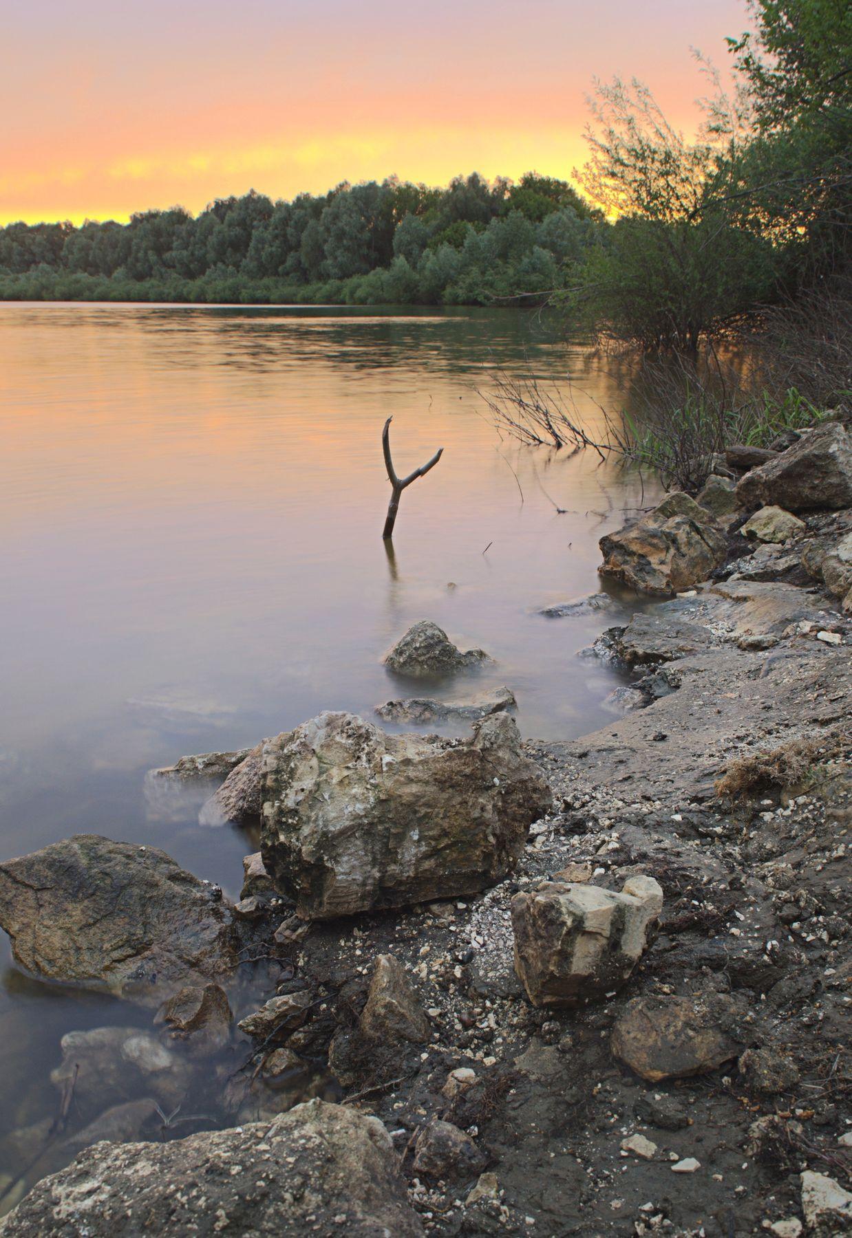 Закат в окрестностях Шумаши п Шумашь Рязанский район закат река Ока каменистый берег
