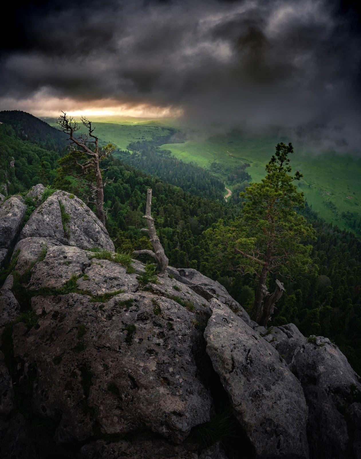 Заоблачное Лаго-Наки кавказ лаго-наки гроза облака скалы камни деревья лес природа шторм
