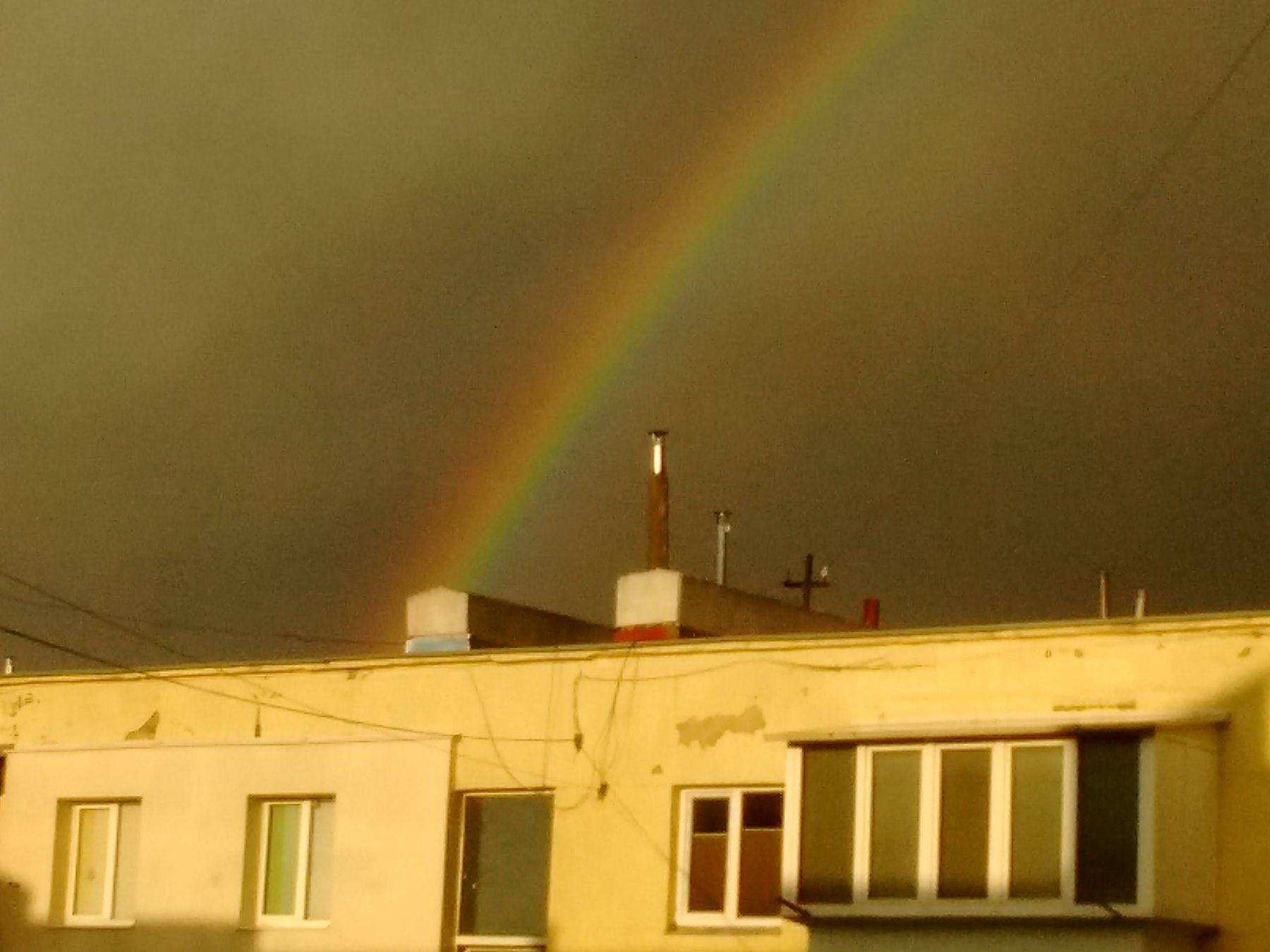*** радуга небо город гроза