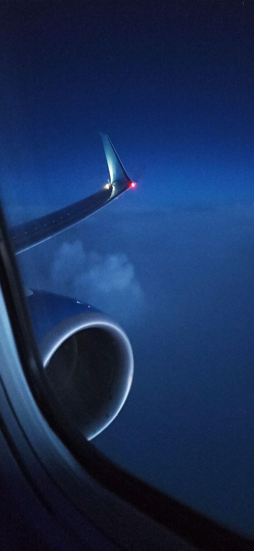 Ночной полет Самолет полет облака крыло двигатель ночь