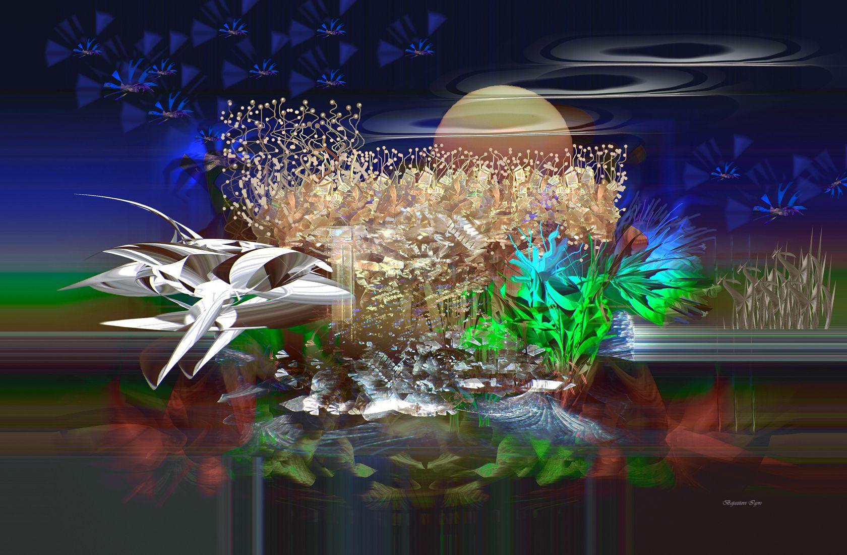 Пейзаж с космическим кораблем Art.Deko.Fantasy.Computer.17.07.2021