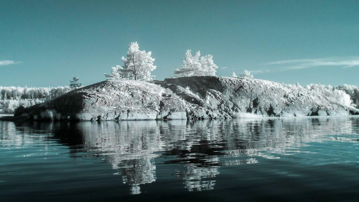 Ладога. Инфракрасное фото Ладога Инфракрасное фото ладожское озеро ir вода остров небо