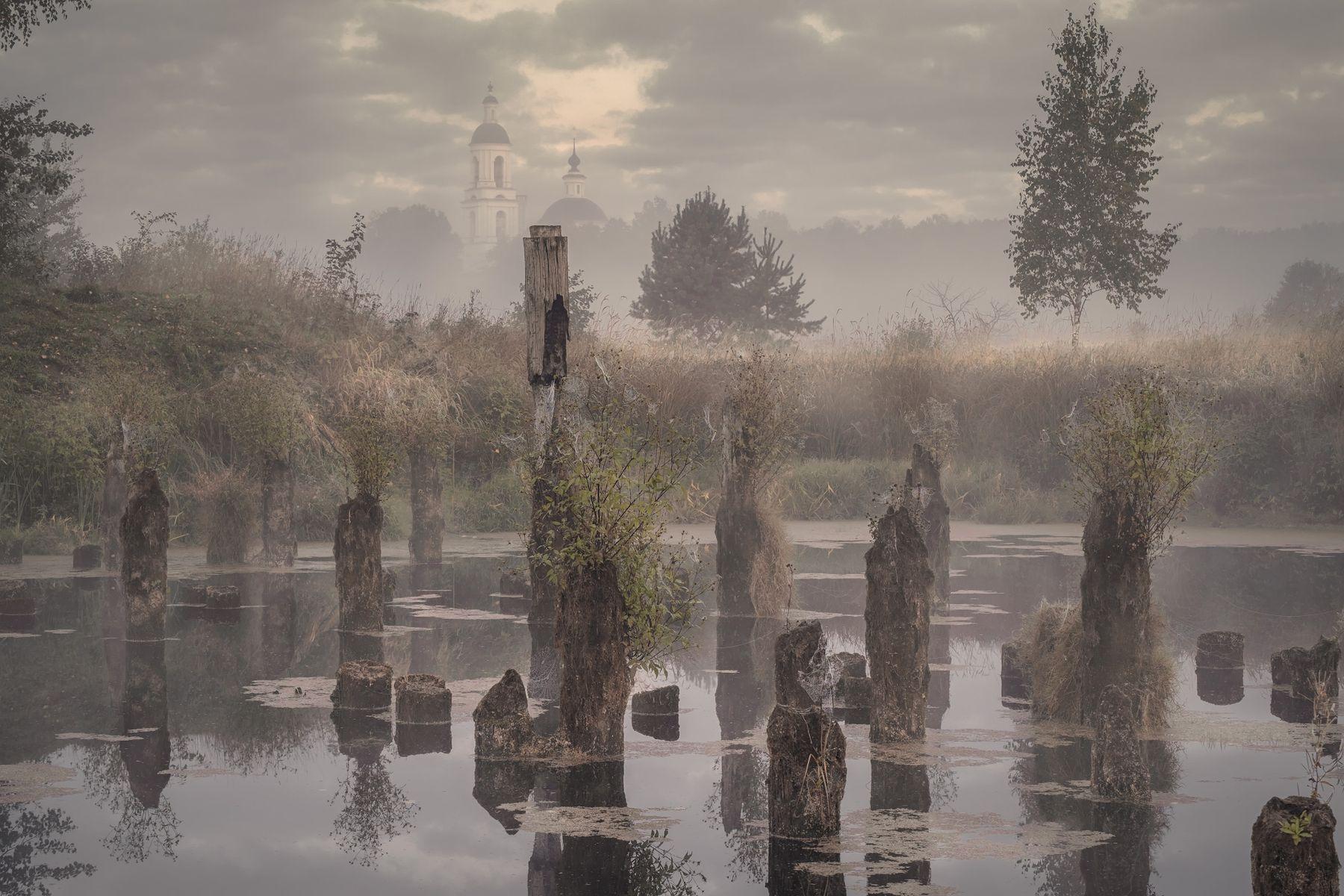 Рассвет в приглушенных тонах утро рассвет пруд церковь сваи туман природа пейзаж филипповское
