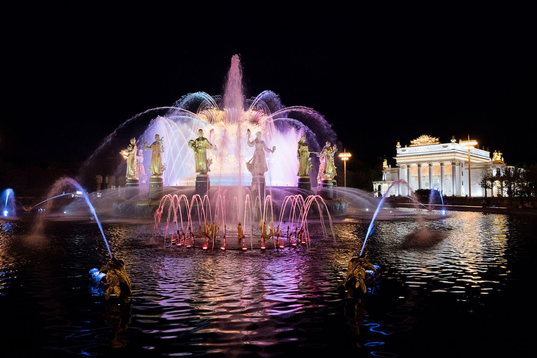 Главный фонтан ВДНХ вднх фонтан дружба народов москва ночь moscow night