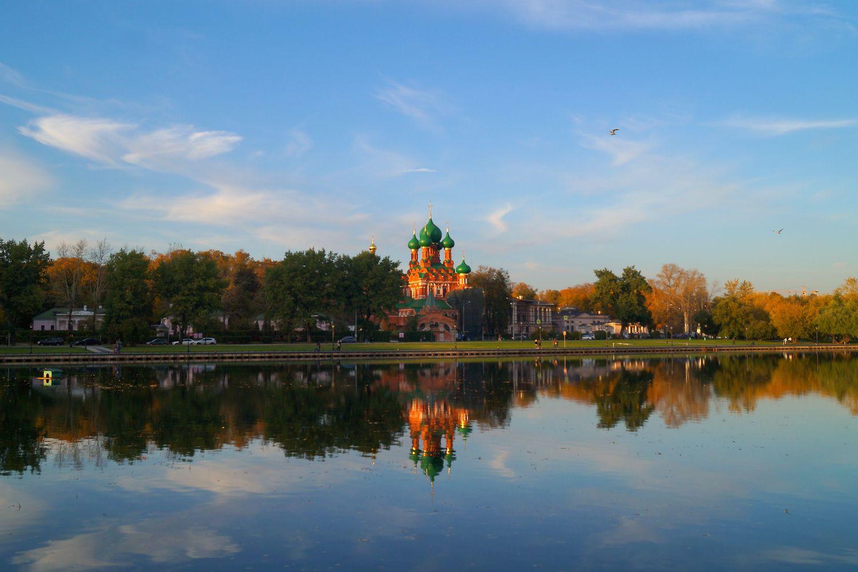 Осенний вечер Москва Останкино осень пруд вечер отражения храм