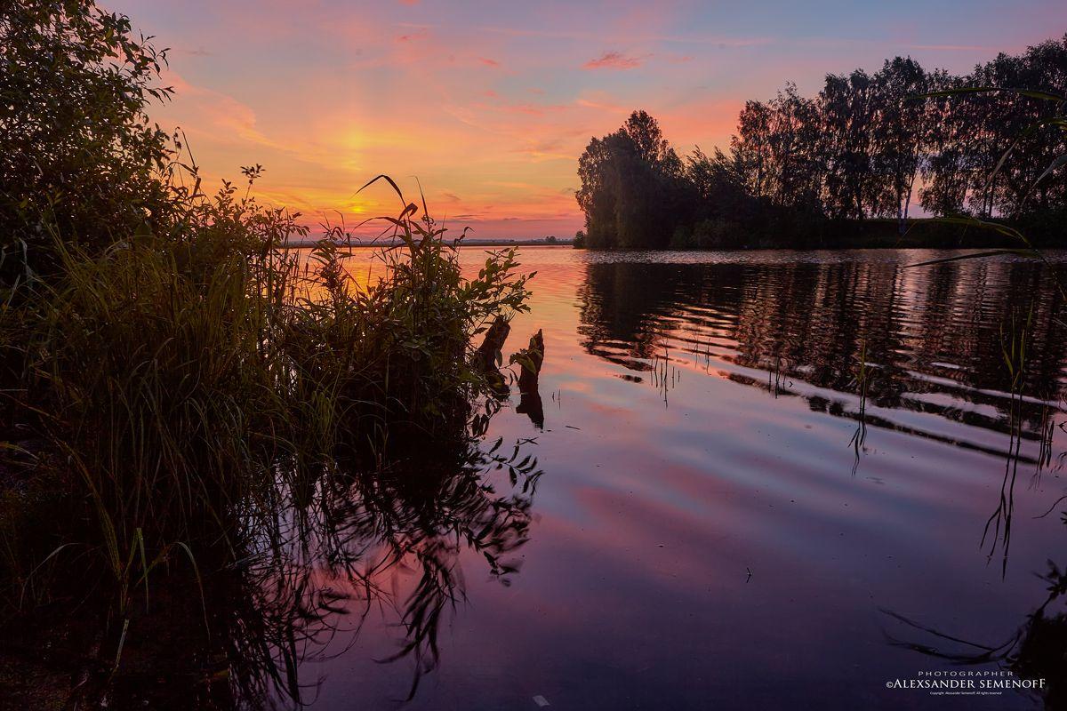 утро на Шунгенском озере утро озеро рассвет заря берег