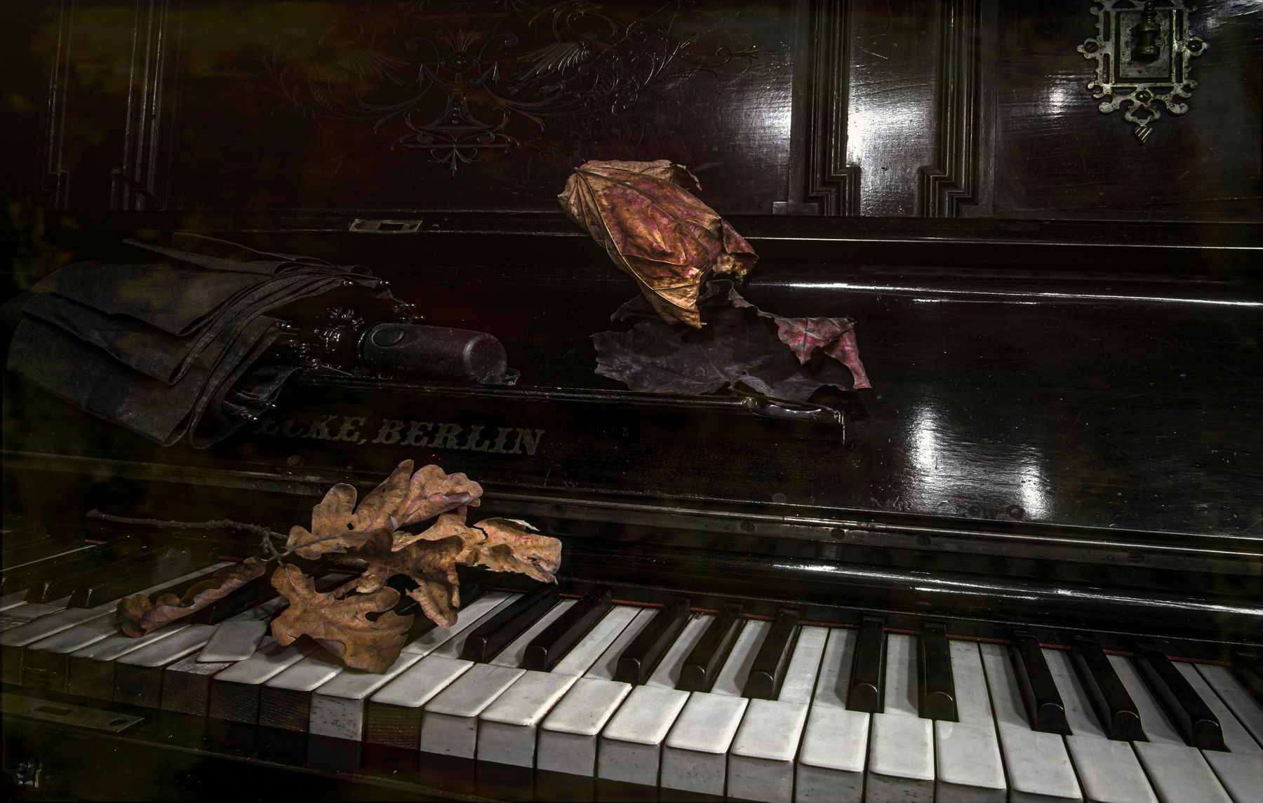 Зонт. пианино зонт листья винтаж