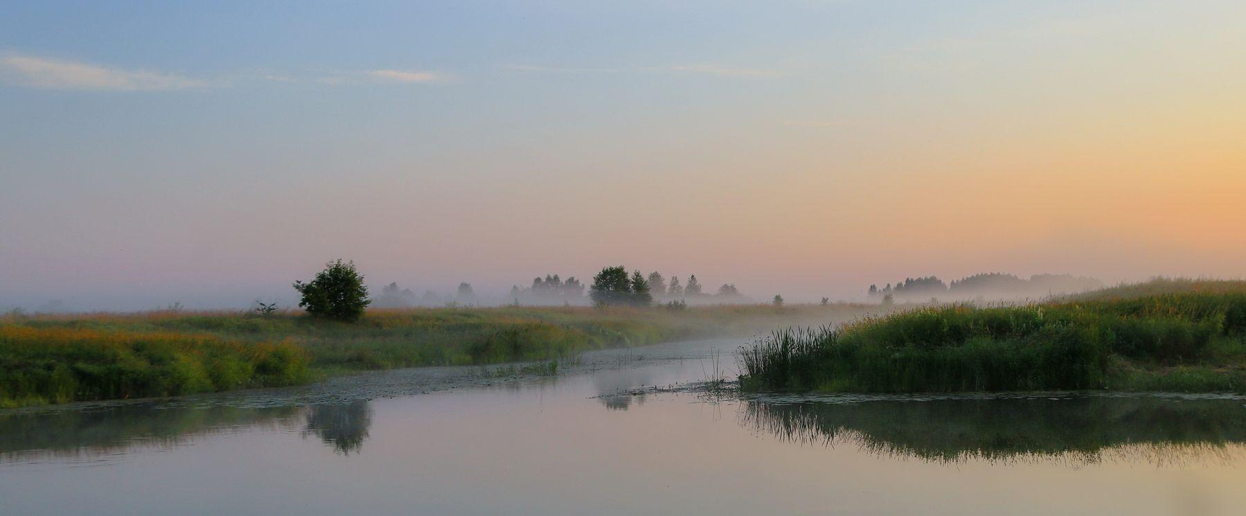утром рано рано река пейзаж рассвет утро краски