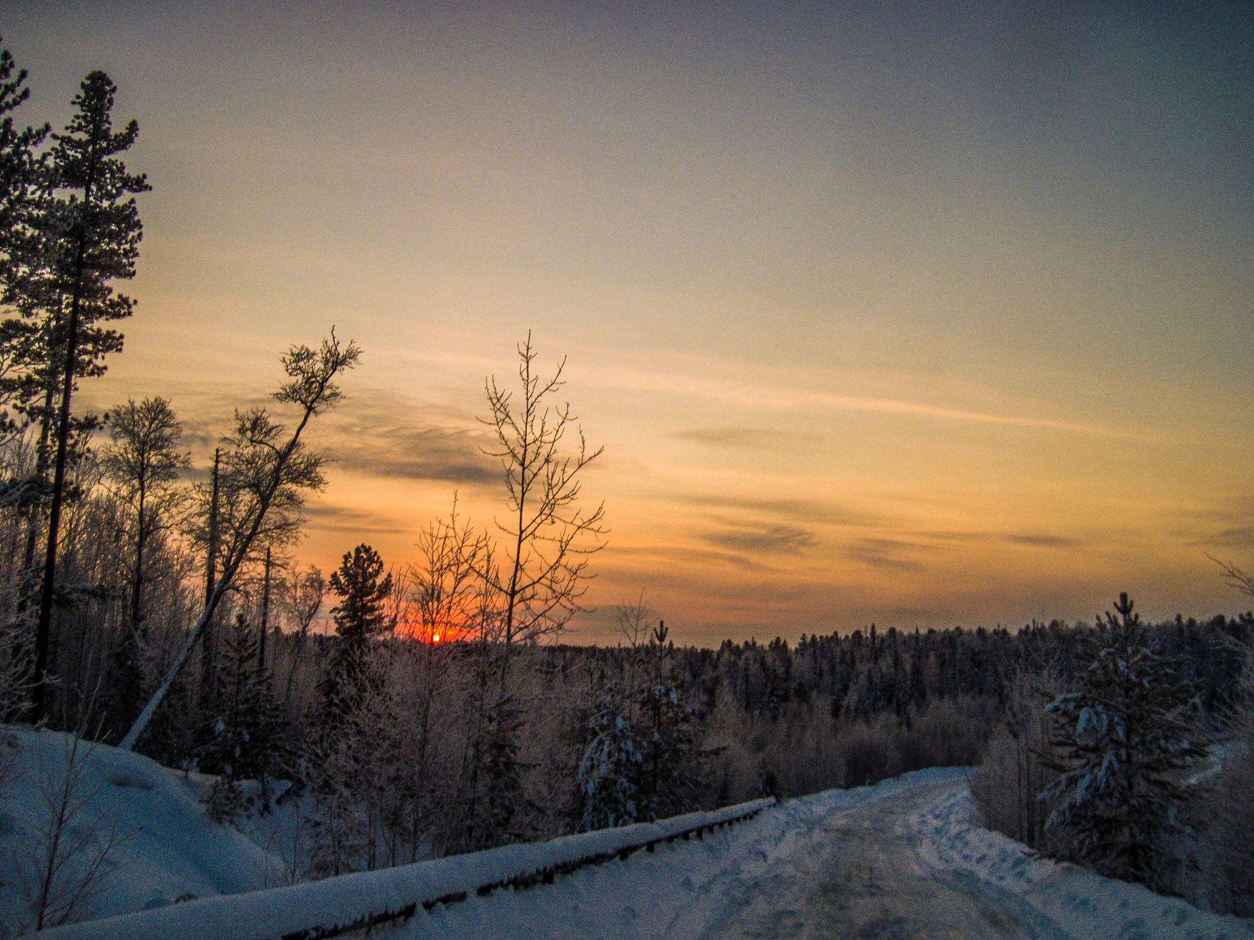 Морозный закат закат красивый