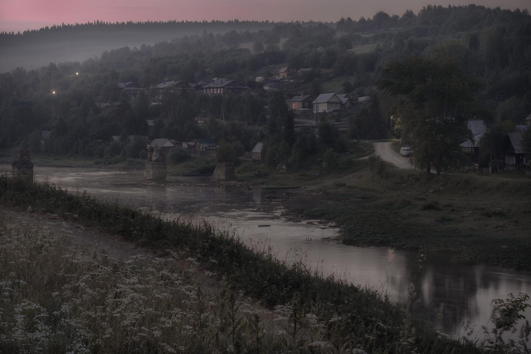 Белая ночь над Усьвой ночь белая лето усьва река село туман фонарь пейзаж