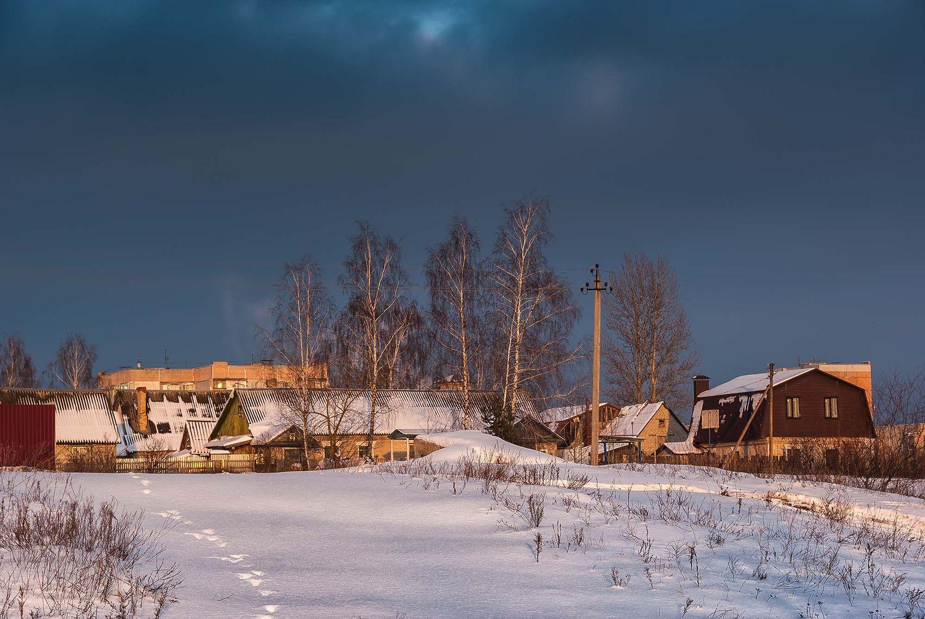 Противостояние окраина небо снег закат