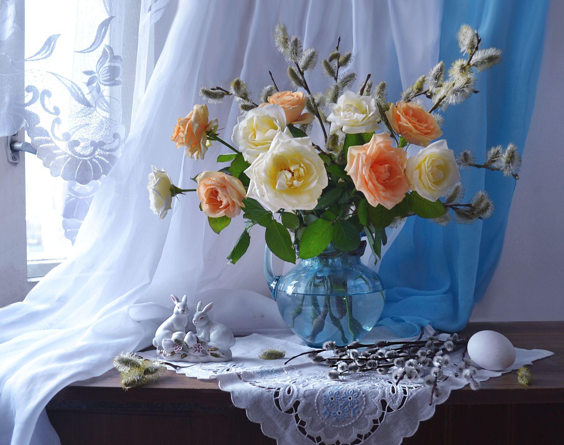 Вербное Воскресение... still life натюрморт цветы фото весна апрель верба вербное воскресение розы фарфор
