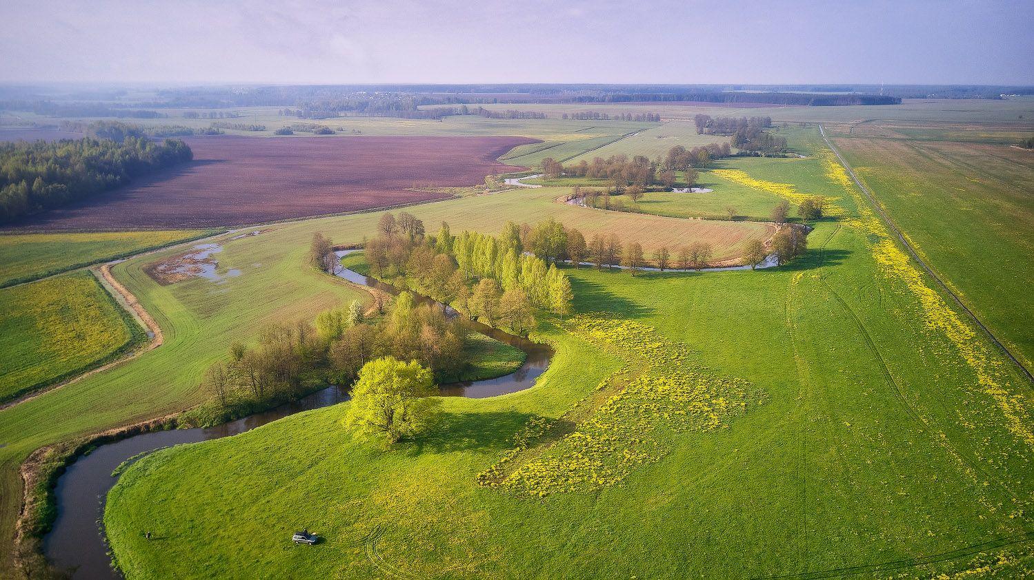 Весна пришла Беларусь Весна Май Поля Рассвет Река Уса Утро