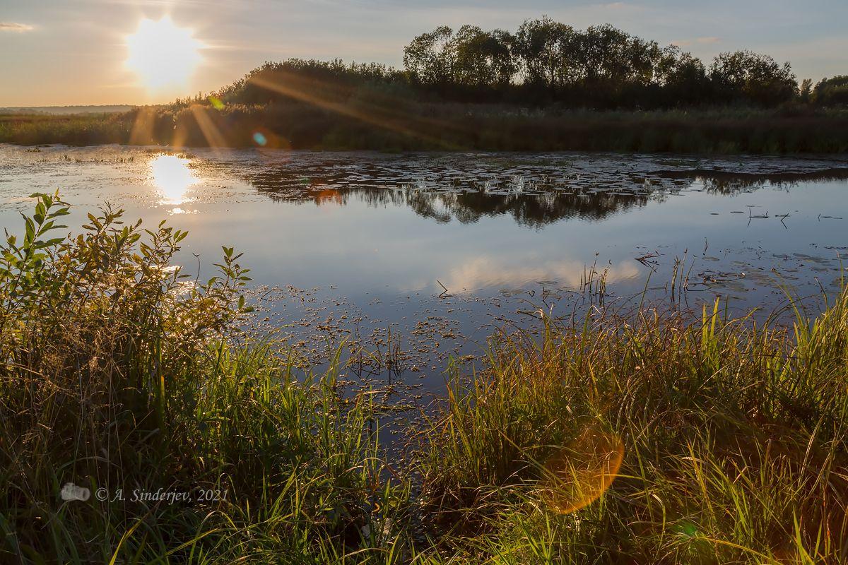 Закат над Чёрной речкой летний пейзаж река солнце закат