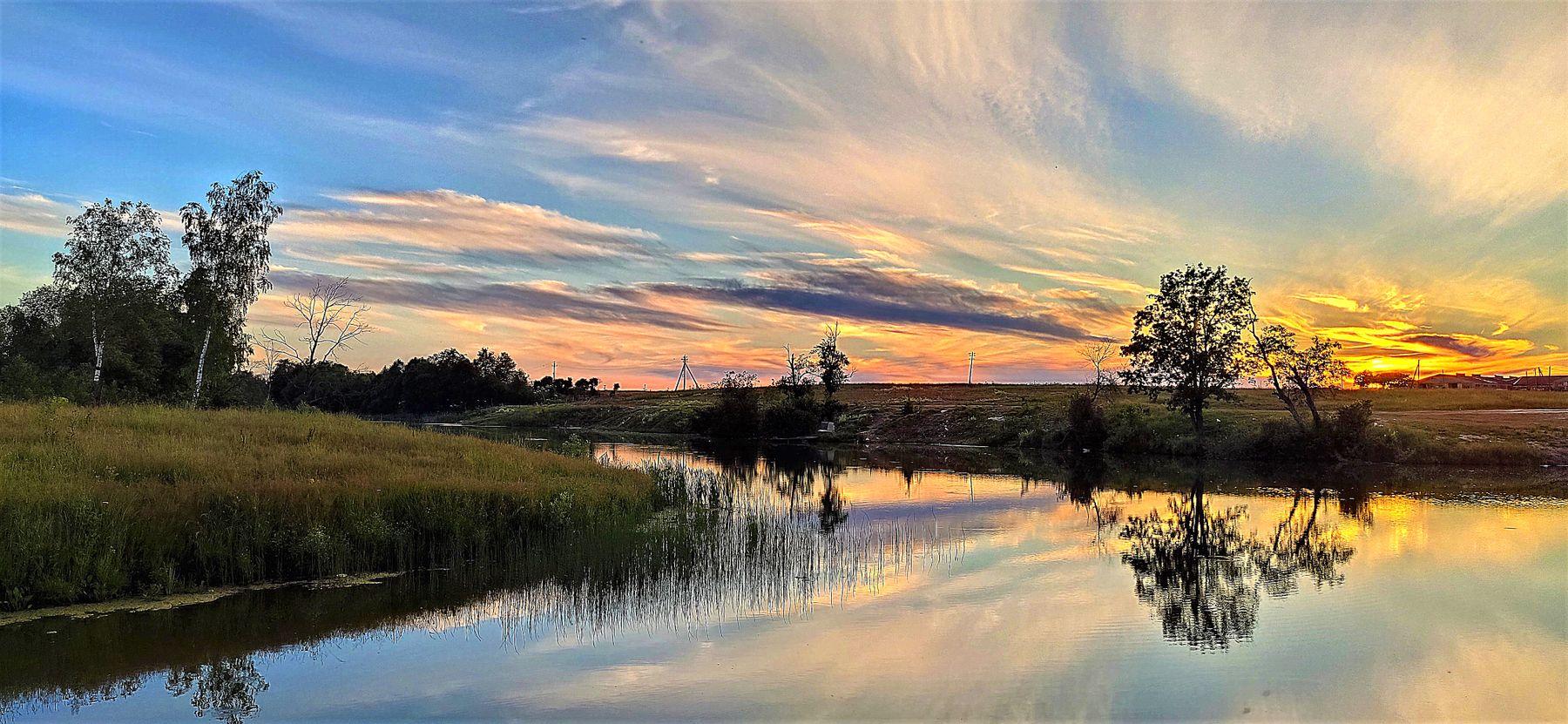 Июньский вечер солнце закат вечер облака
