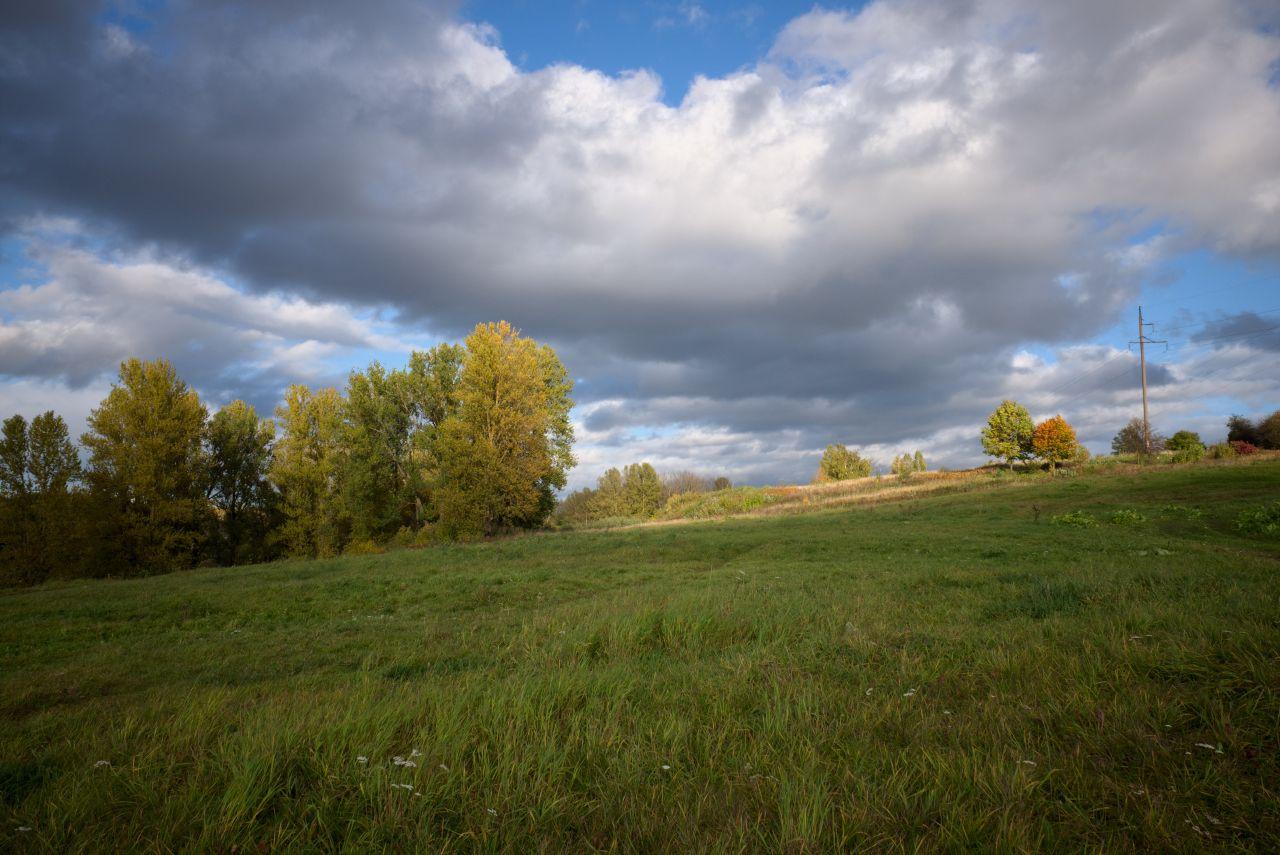 Осенний вид 2 осень вечер поле солнце небо деревья облака