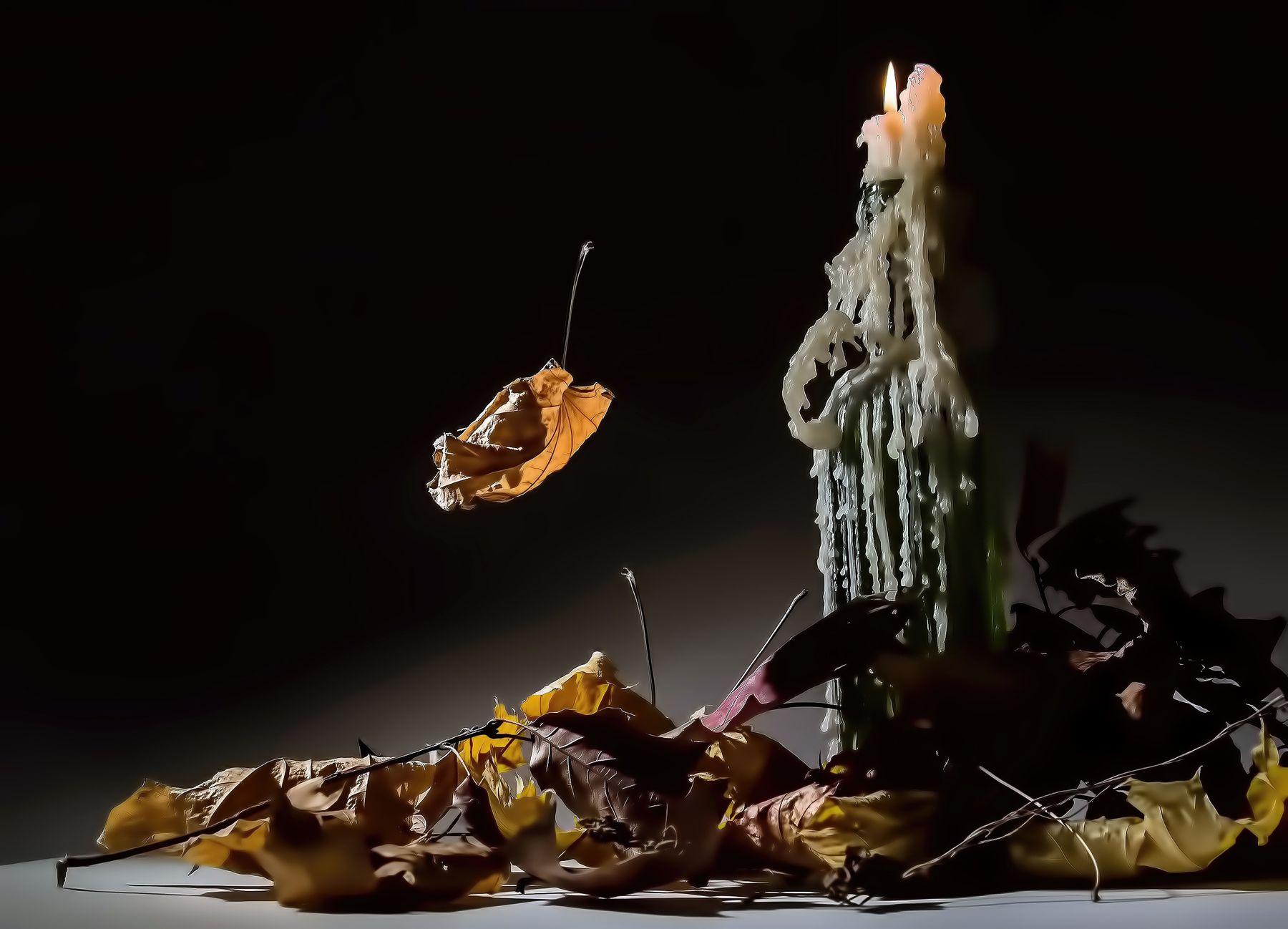 Свеча. свеча бутылка листья парафин осень