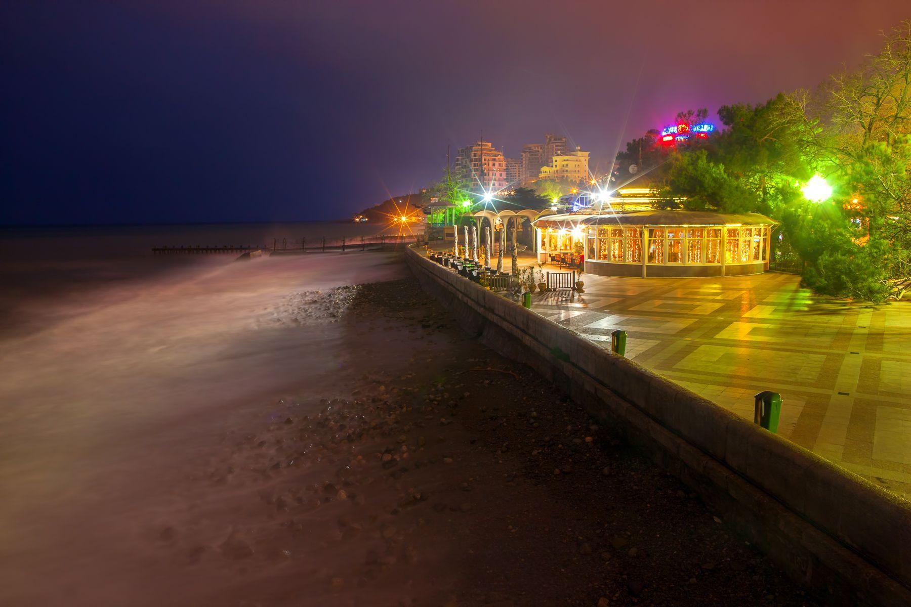 Ялтинская Набережная Ялта Набережная Крым Ночь Ореанда курорт Пейзажи Крыма ночная