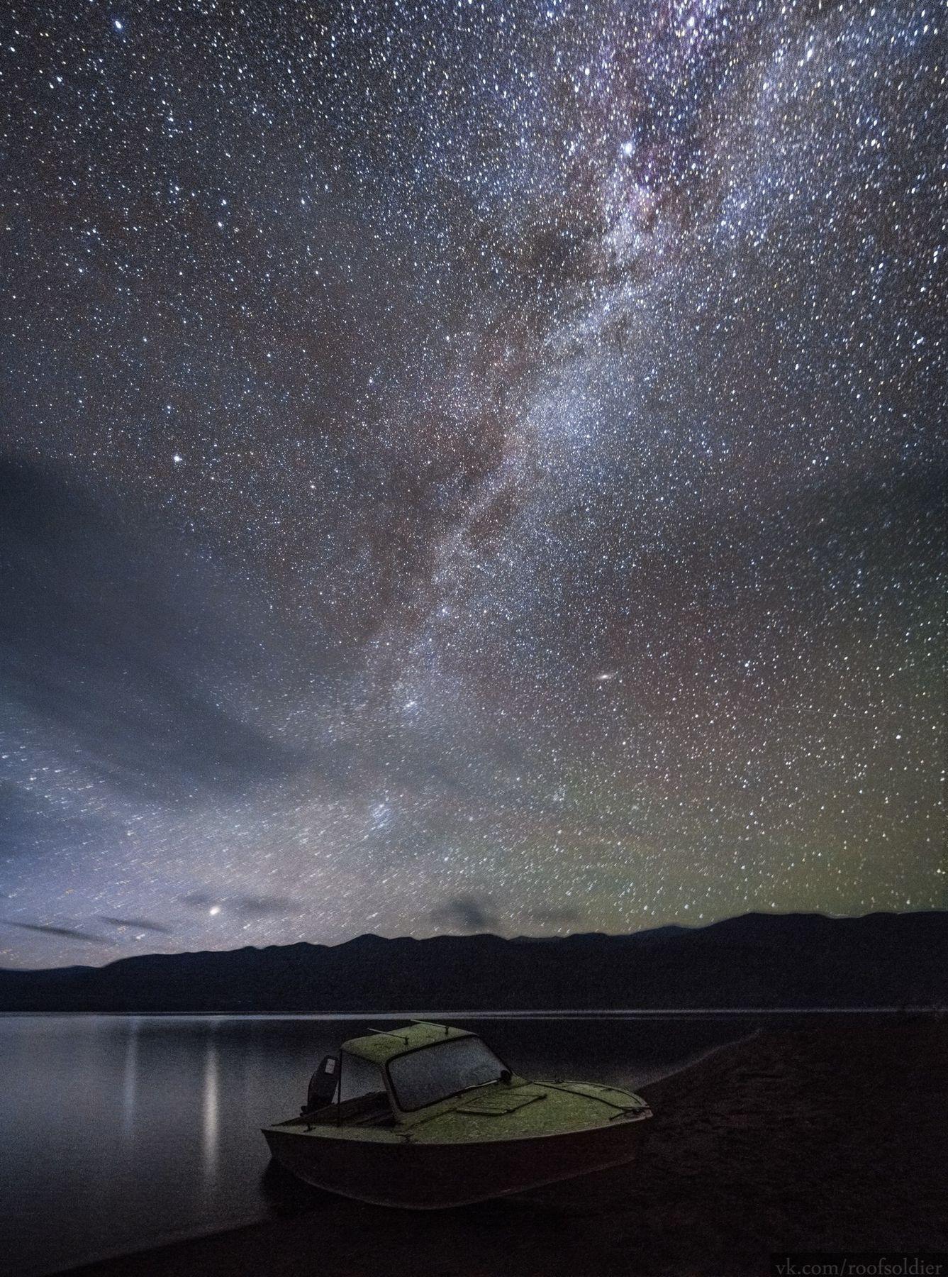 Алтайское небо Алтай пейзаж Россия природа звёзды млечный путь ночь ночной небо звёздное озеро лодка